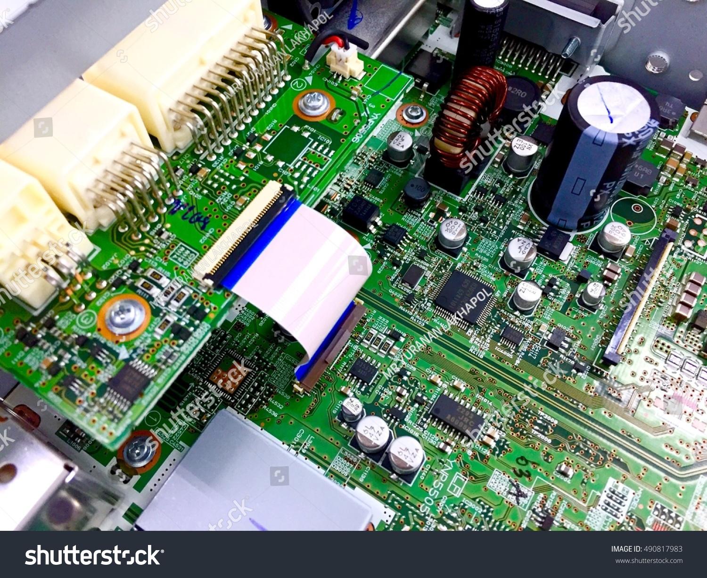 Closeup Green Pcb Parts Mounting Inside Ez Canvas Pics Photos Circuits Computers Components Technology Id 490817983