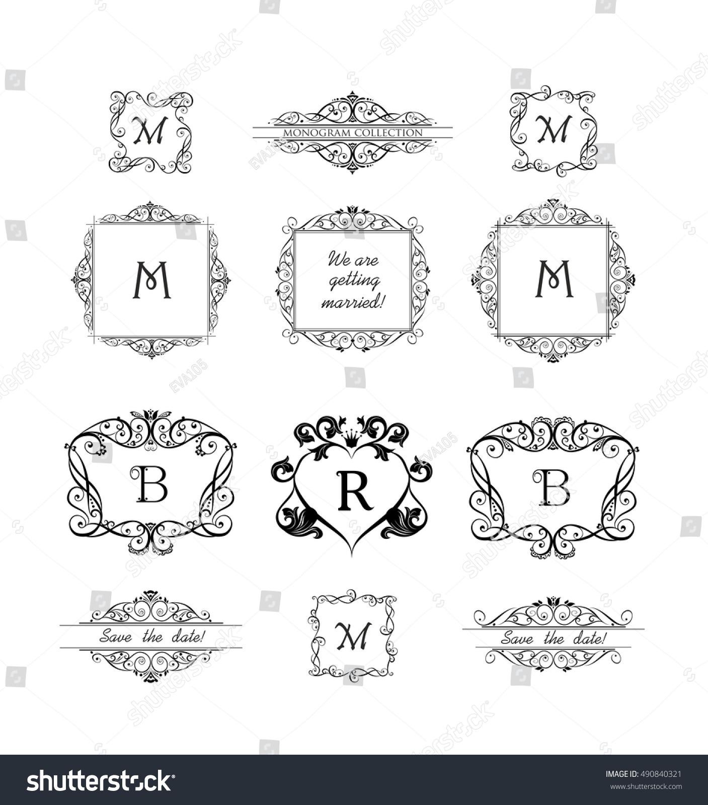 Collection Decorative Frames Wedding Invitation Birthday Stock ...