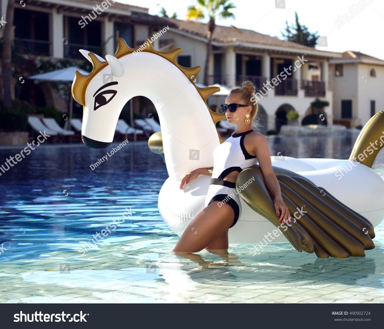 Young Pretty Fashion Woman Relaxing Luxury Stock Photo
