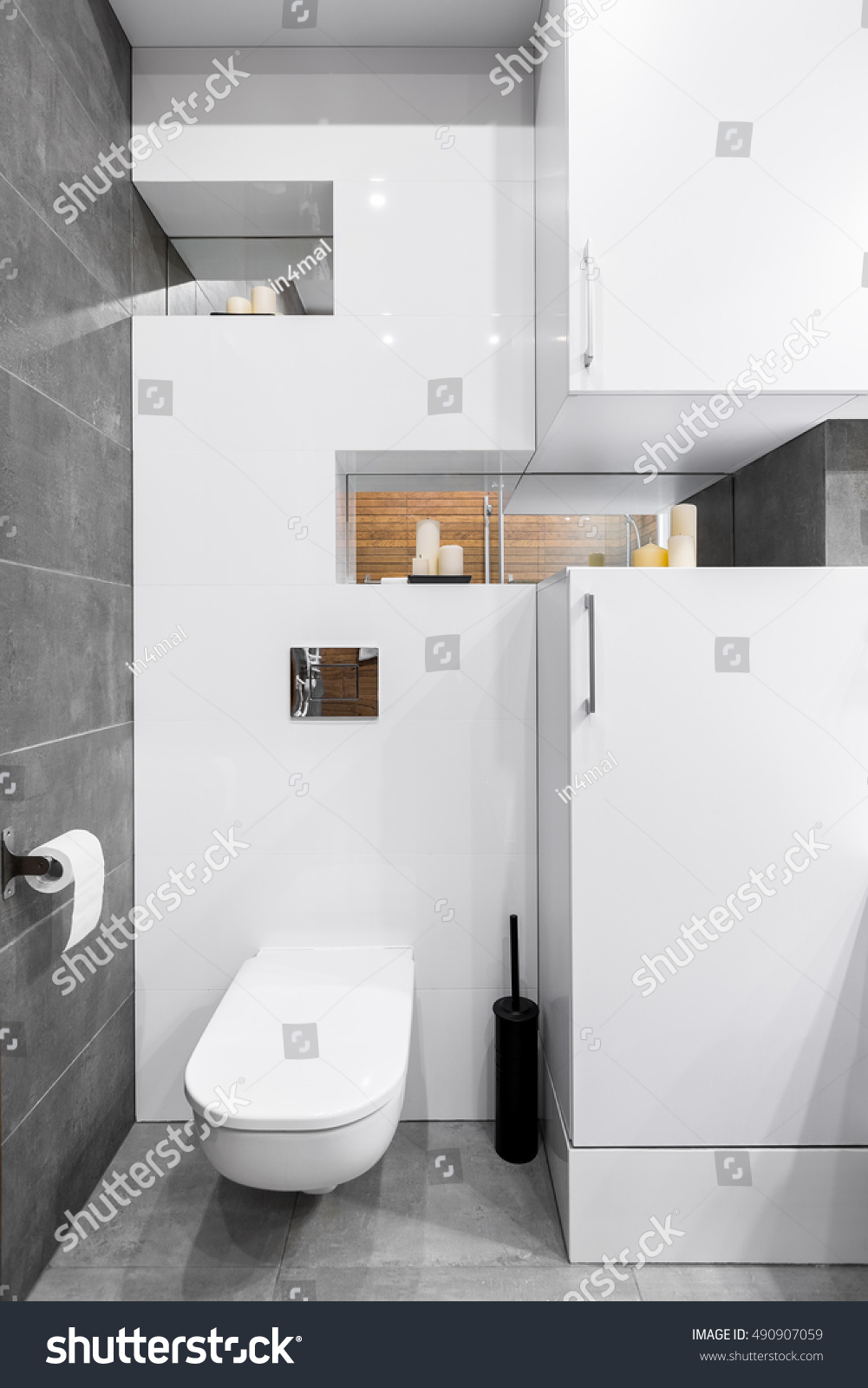 New style bathroom with white furniture and grey tiling   EZ Canvas