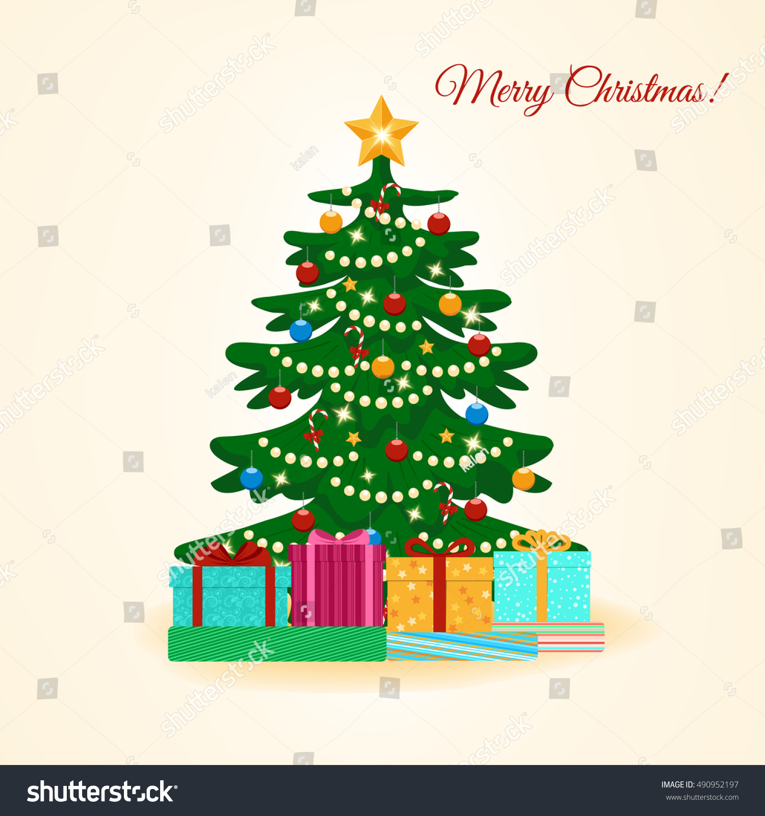 Vector Illustration Decorated Christmas Tree Colorful Stock Vector ...