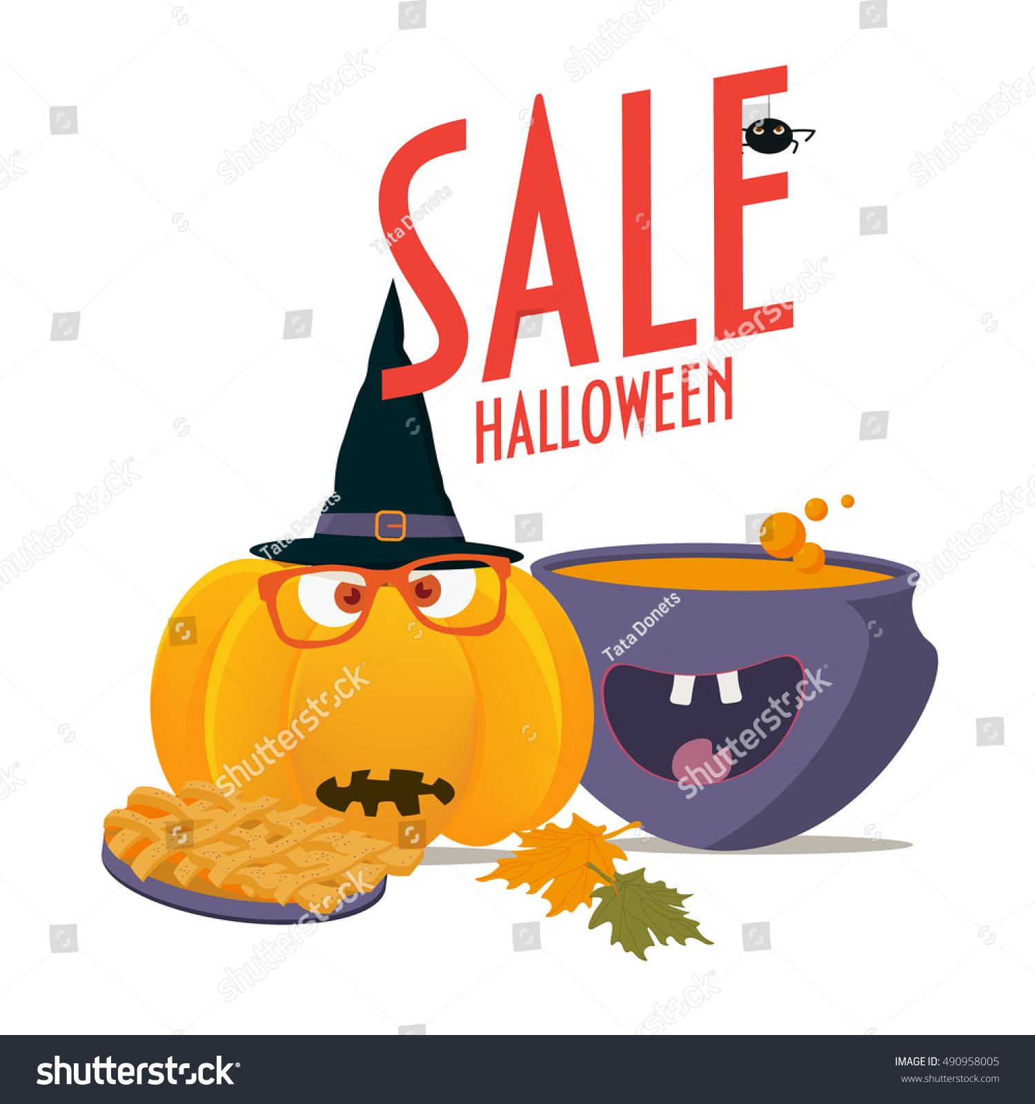 halloween sale promotion poster template halloween stock vector