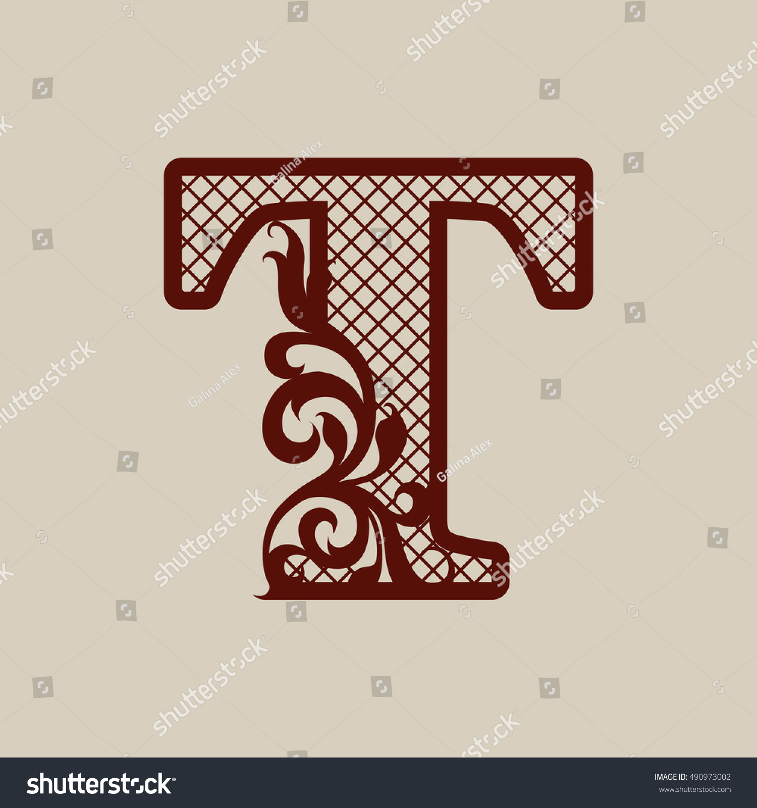 Elegant Monogram Letter T Carved Openwork Stock Vector (Royalty Free ...