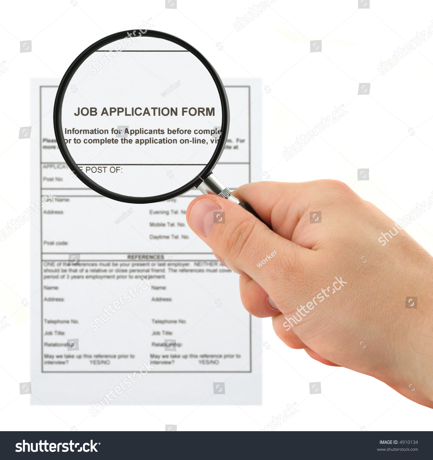 concept of searching for personnel hand magnifying glass job application form preview save to a lightbox