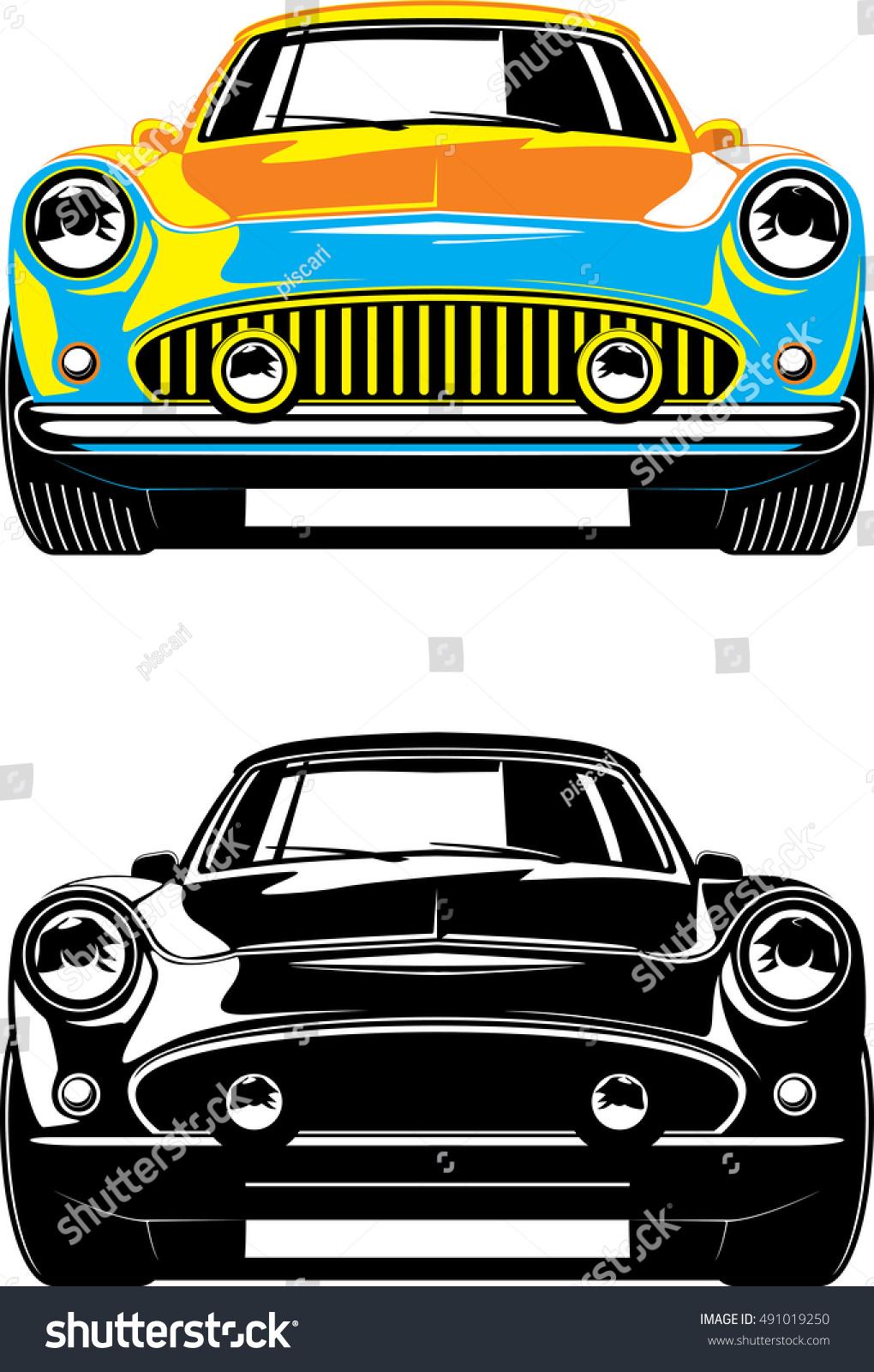 Vintage Car Front View Black White 491019250