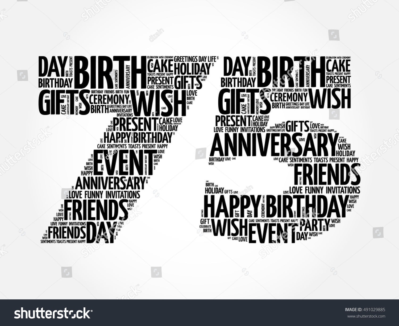 Happy 75th birthday word cloud collage concept | EZ Canvas