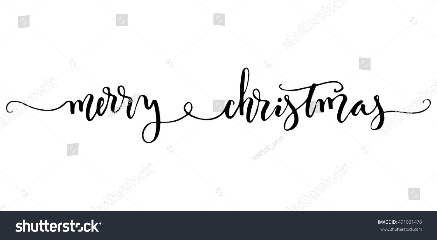 hand lettering merry christmas black ink fancy ligature modern calligraphy isolated on white background - Merry Christmas Black And White