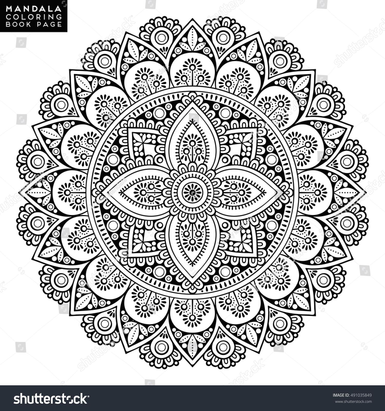 Flower Mandala Vintage Decorative Elements Oriental Stock Vector 491035849