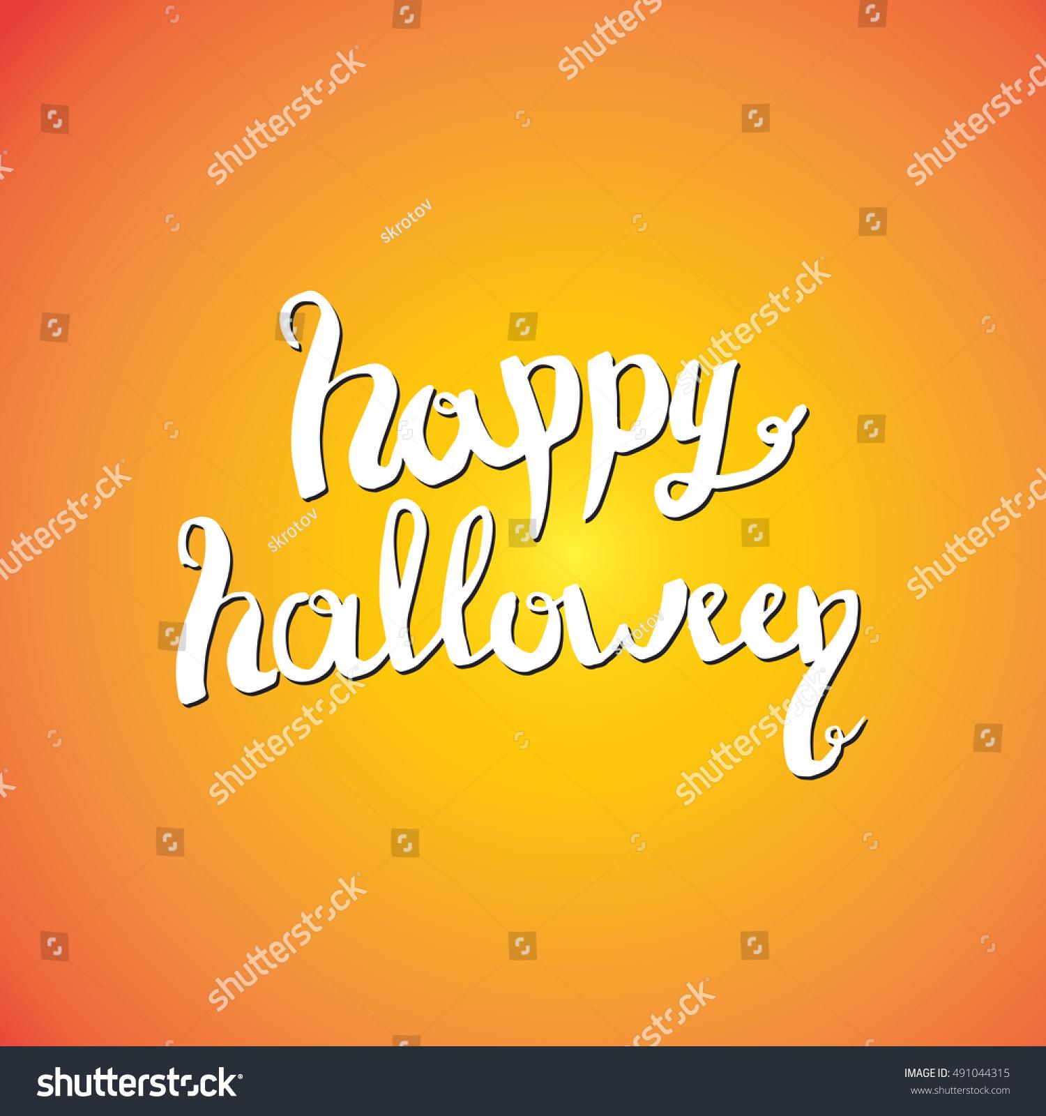 Happy Halloween Lettering Greeting Card Design Illustration Ez Canvas