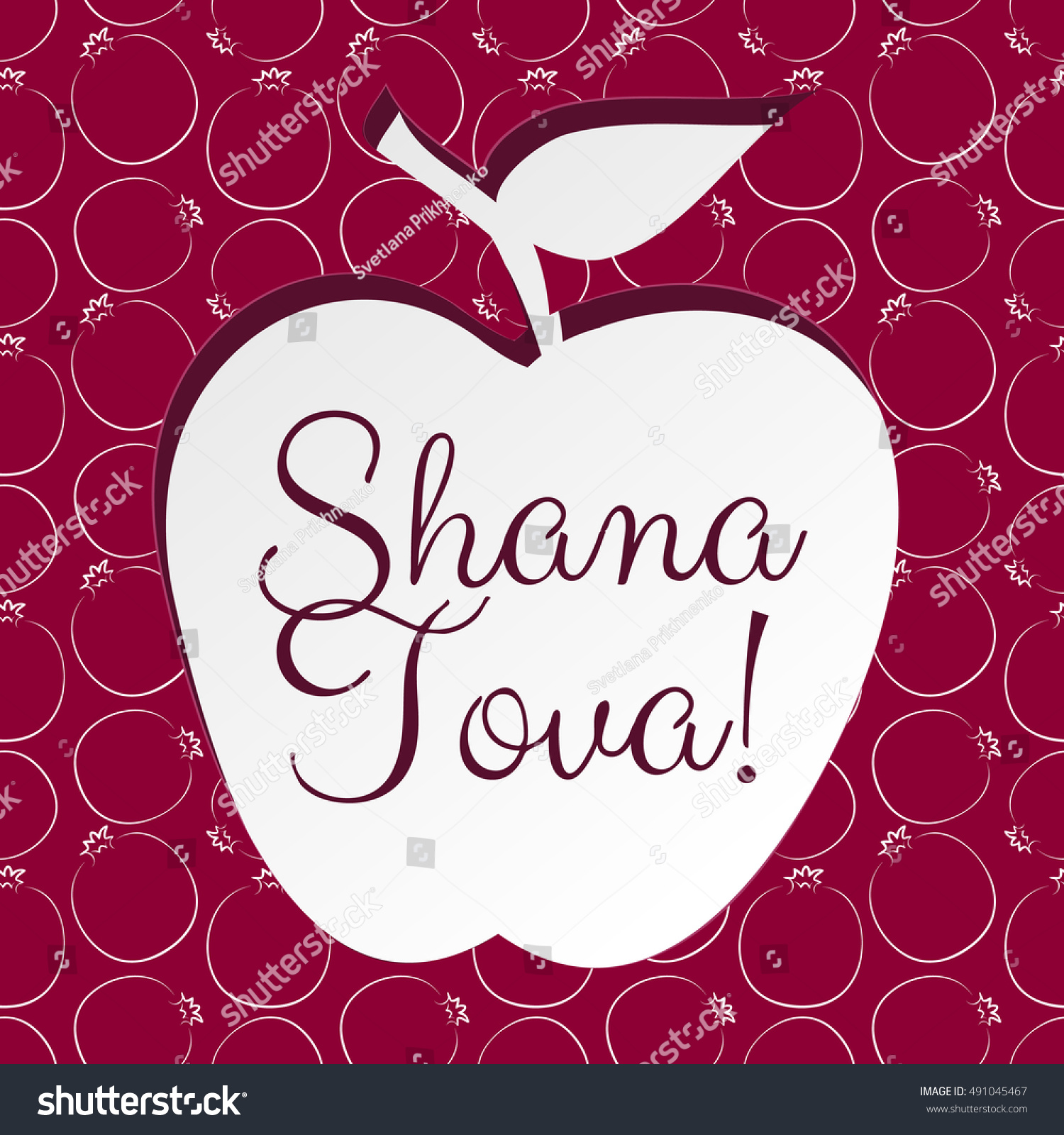 Greeting card jewish holiday rosh hashanah stock illustration greeting card for jewish holiday rosh hashanah with red pomegranate and green apple kristyandbryce Choice Image