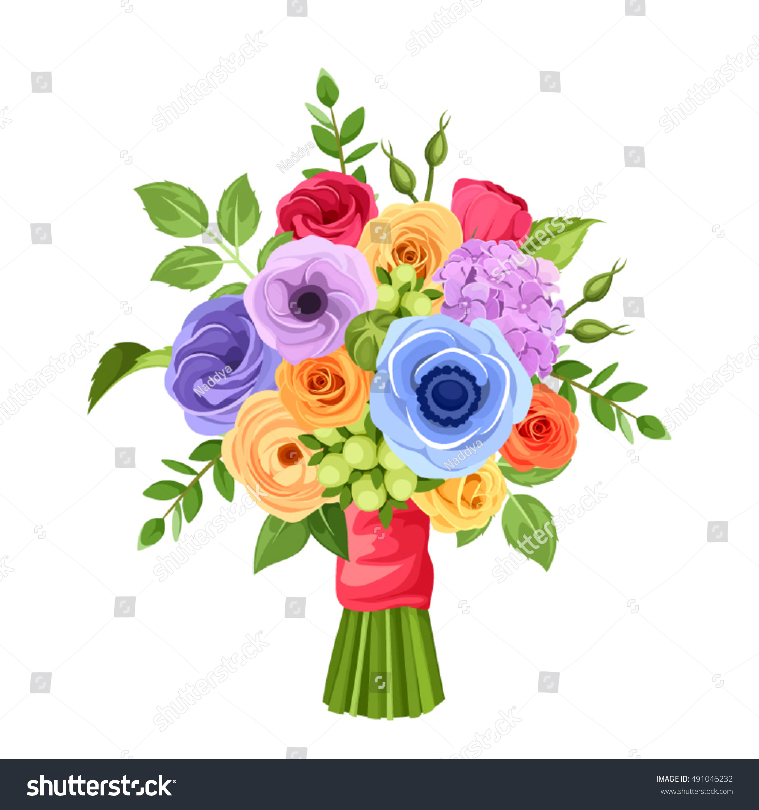 Vector bouquet red orange yellow blue stock vector 491046232 vector bouquet of red orange yellow blue and purple flowers isolated on a izmirmasajfo Image collections