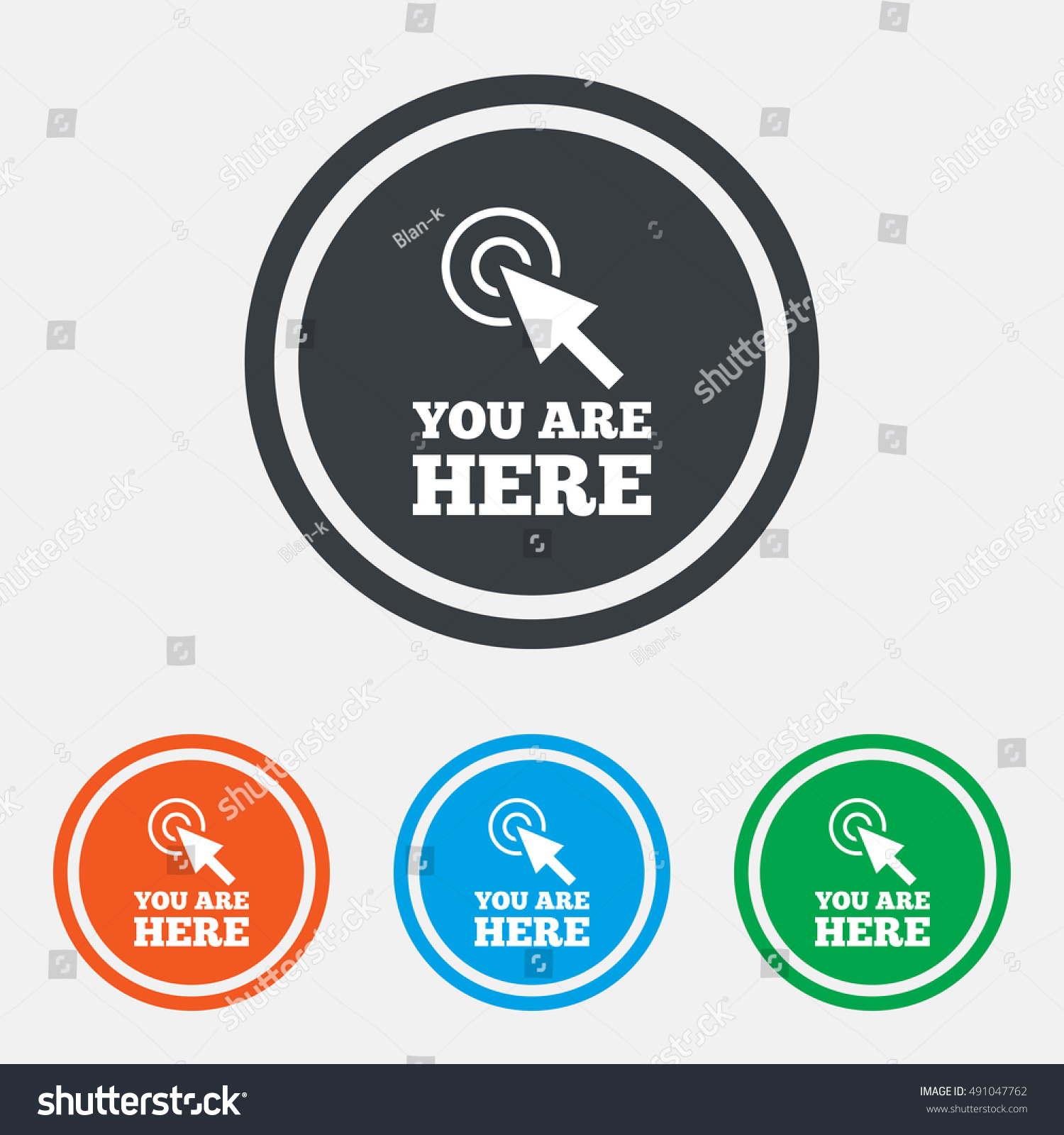 You Here Sign Icon Info Cursor Stock Vector Royalty Free 491047762