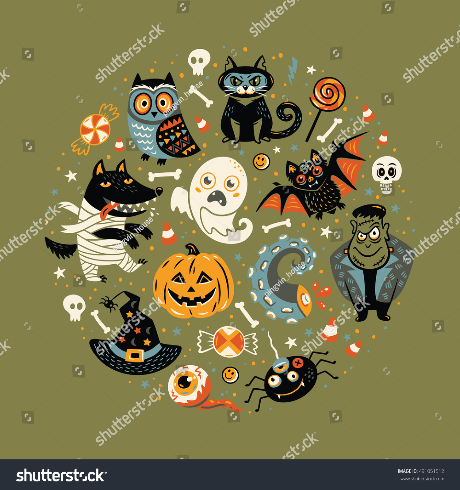 Halloween poster greeting card cartoon characters stock vector halloween poster or greeting card with cartoon characters in a circular frame green background kristyandbryce Gallery
