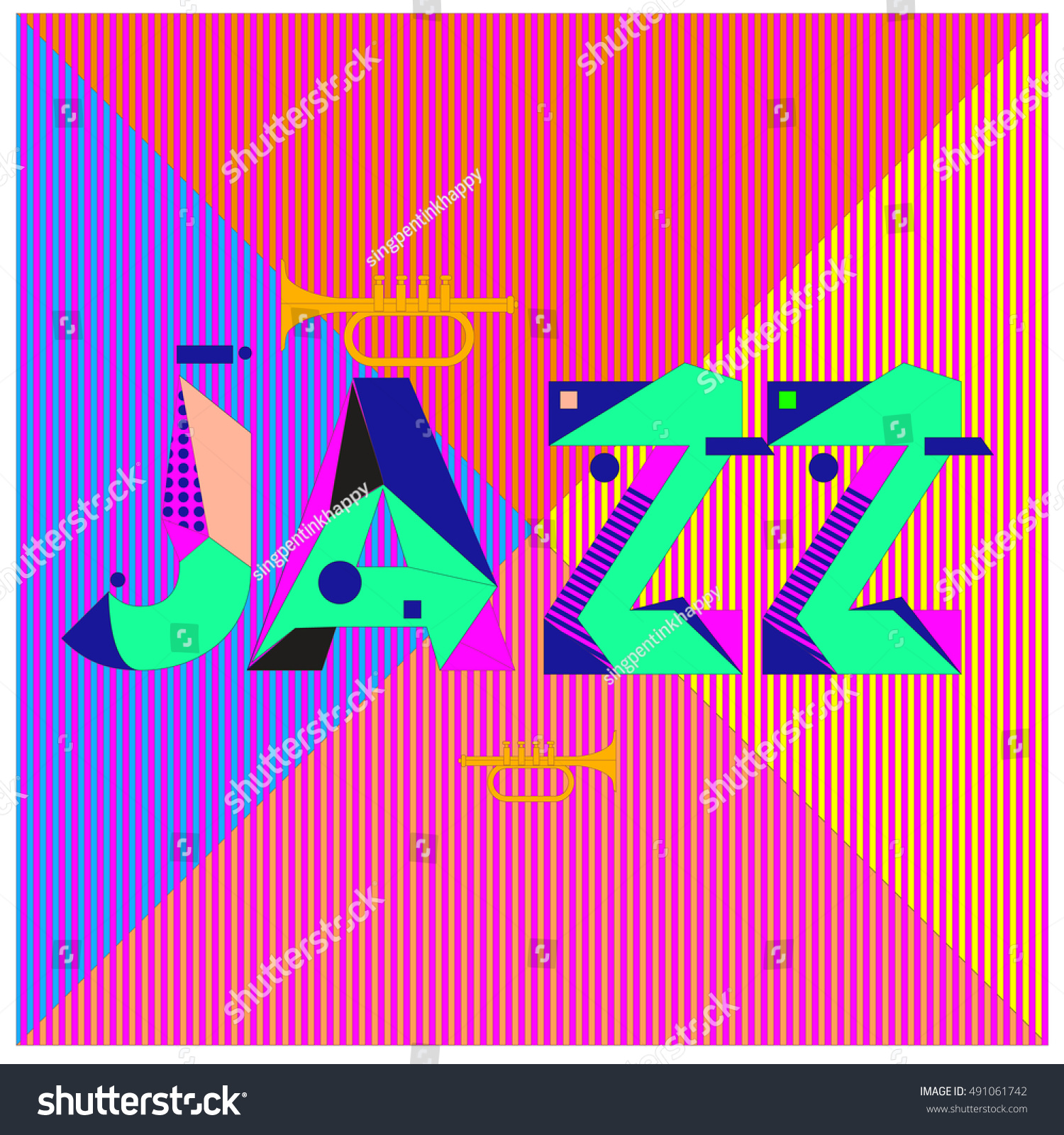 90s poster design - Vector Jazz Music Poster Template Design Background And Layout With 90s Memphis Style