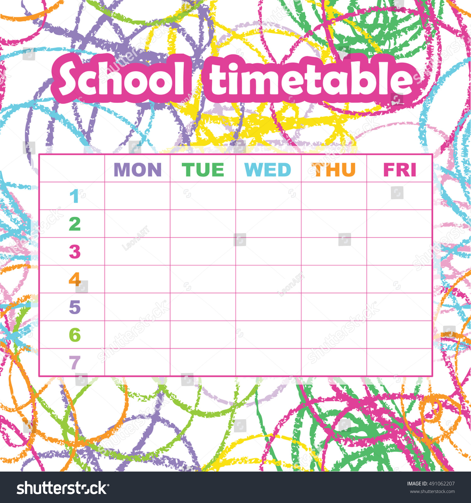 Quotes On School Time Table: School Timetable Template Students Pupils Abstract Stock
