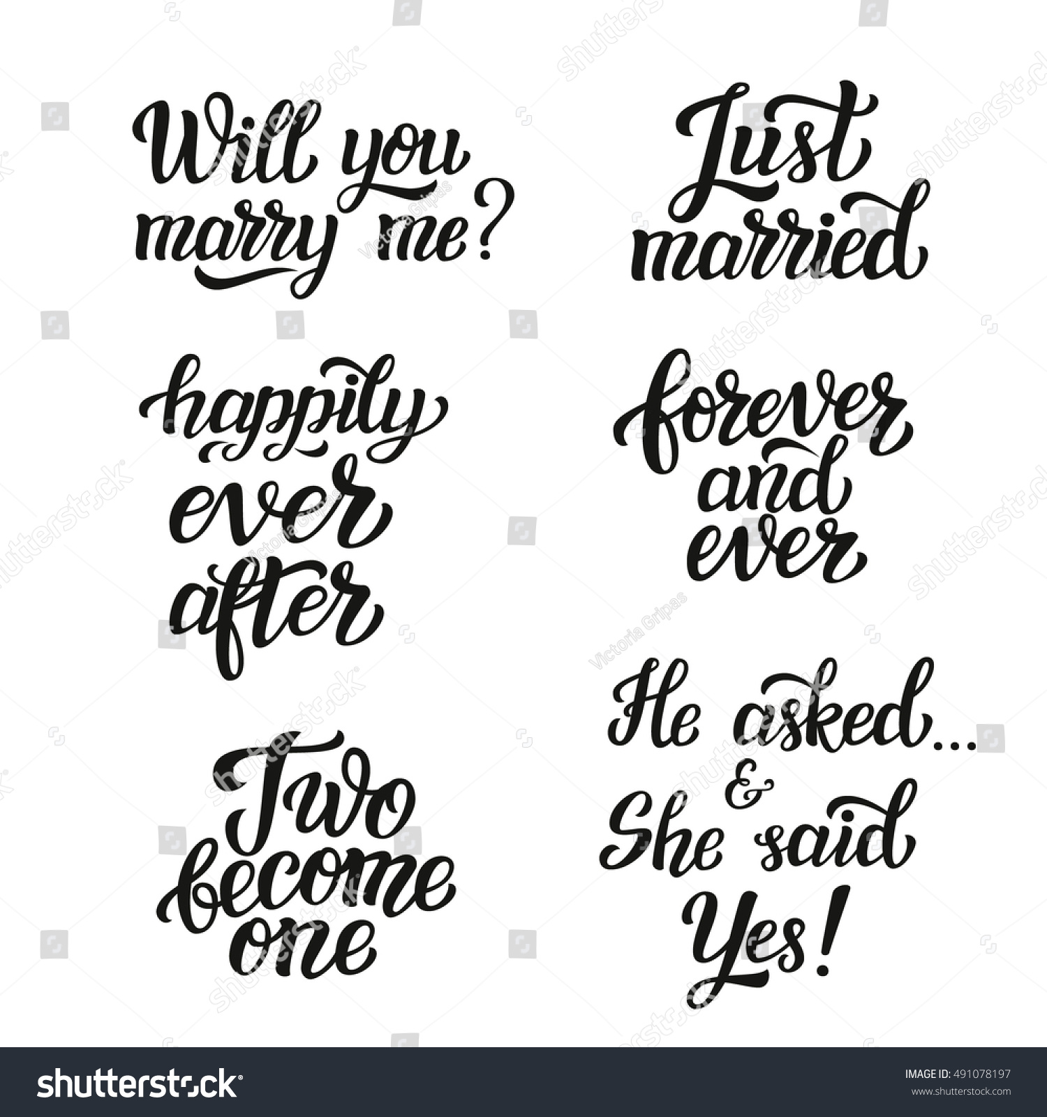 Just Married Quotes Hand Lettering Typography Wedding Set Romantic Stock Illustration