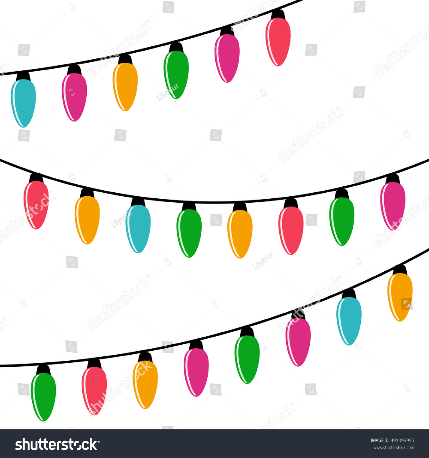 christmas lights garland vector decoration holiday stock photo rh shutterstock com vector art christmas lights free vector christmas lights border