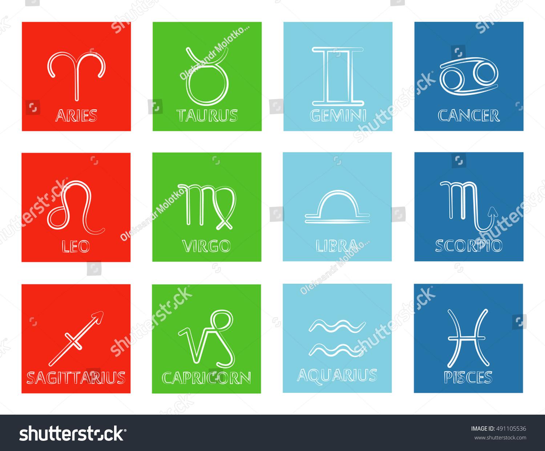 Vector Zodiac Signs Symbols Horoscope Sorted Stock Vector Royalty