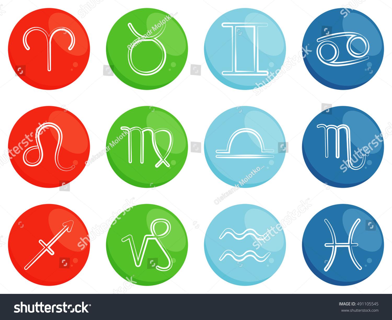 Symbols Horoscope Zodiac Signs Sorted By Stock Vector Royalty Free