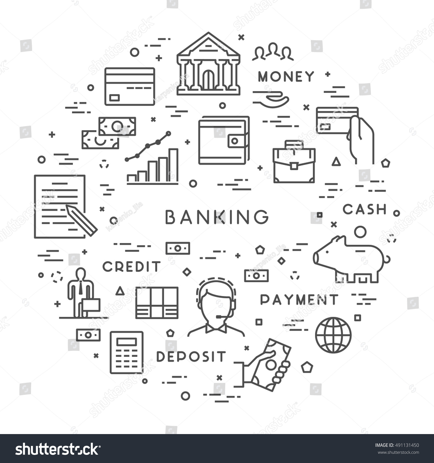 Vector line concept banking modern linear stock vector 491131450 vector line concept for banking modern linear symbol for investment open path biocorpaavc Gallery