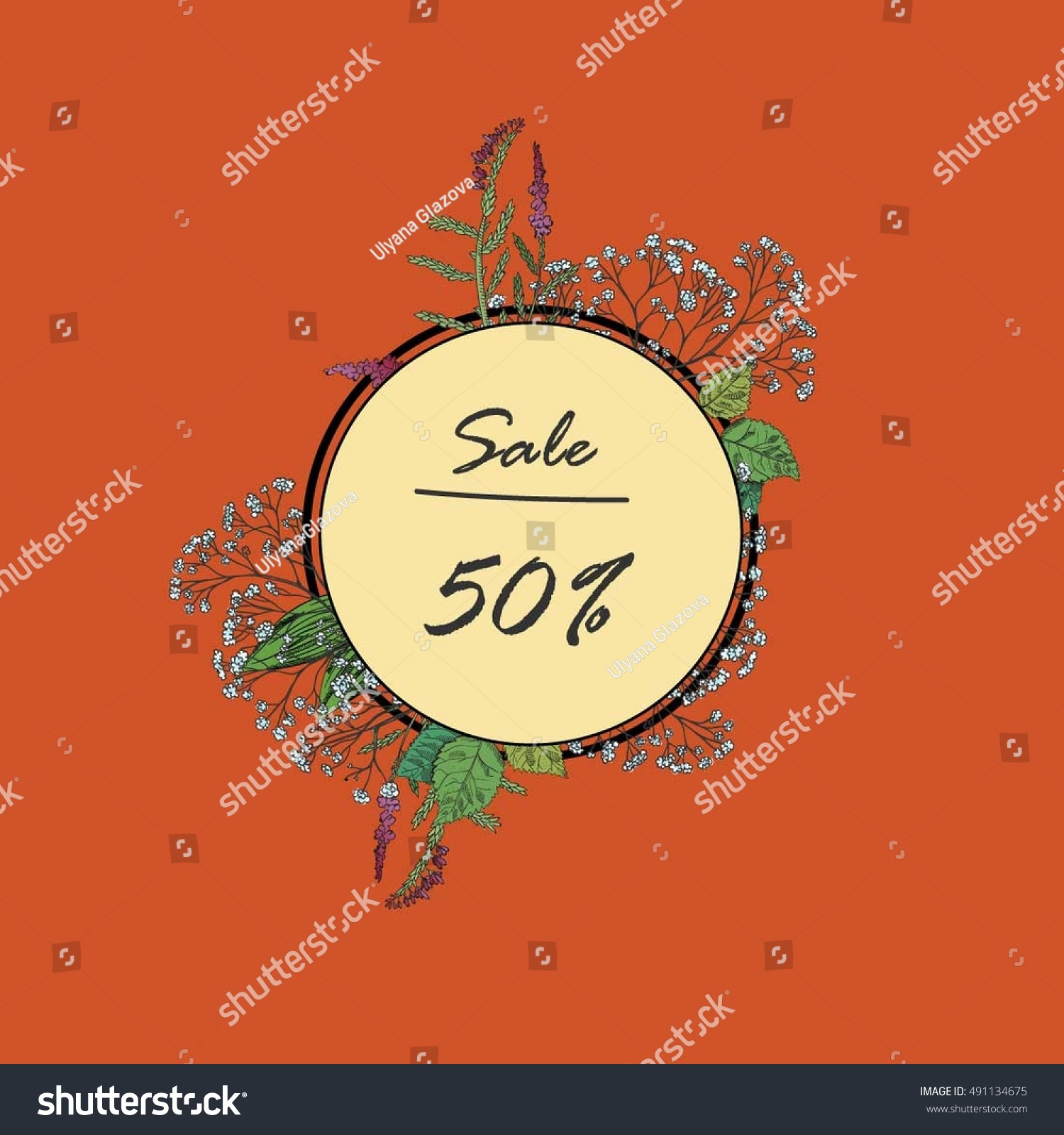 Vintage Floral Vector Discount Card Nature Stock Vector (Royalty ...