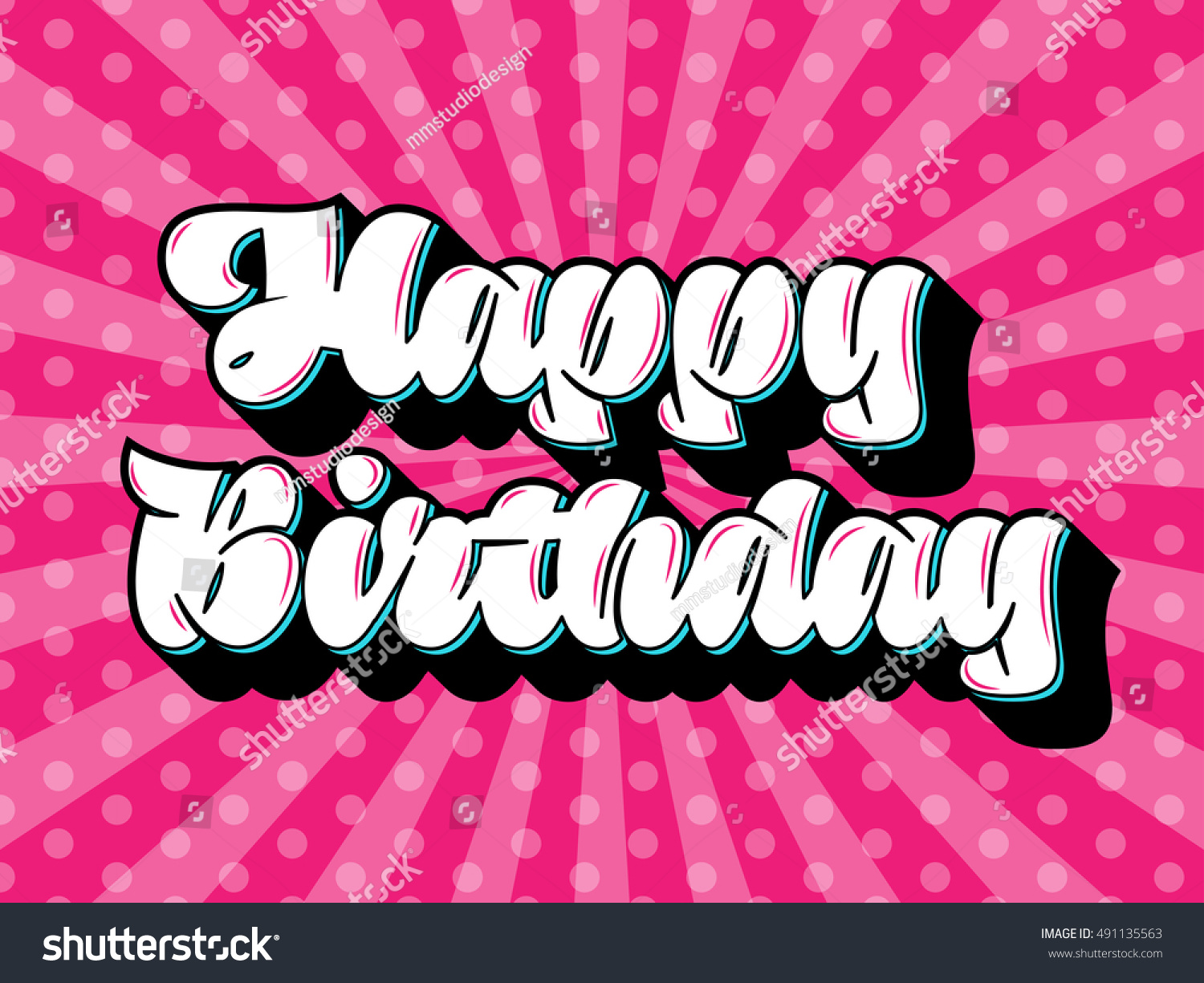 Happy Birthday Message Text Calligraphic Lettering Stock Vector