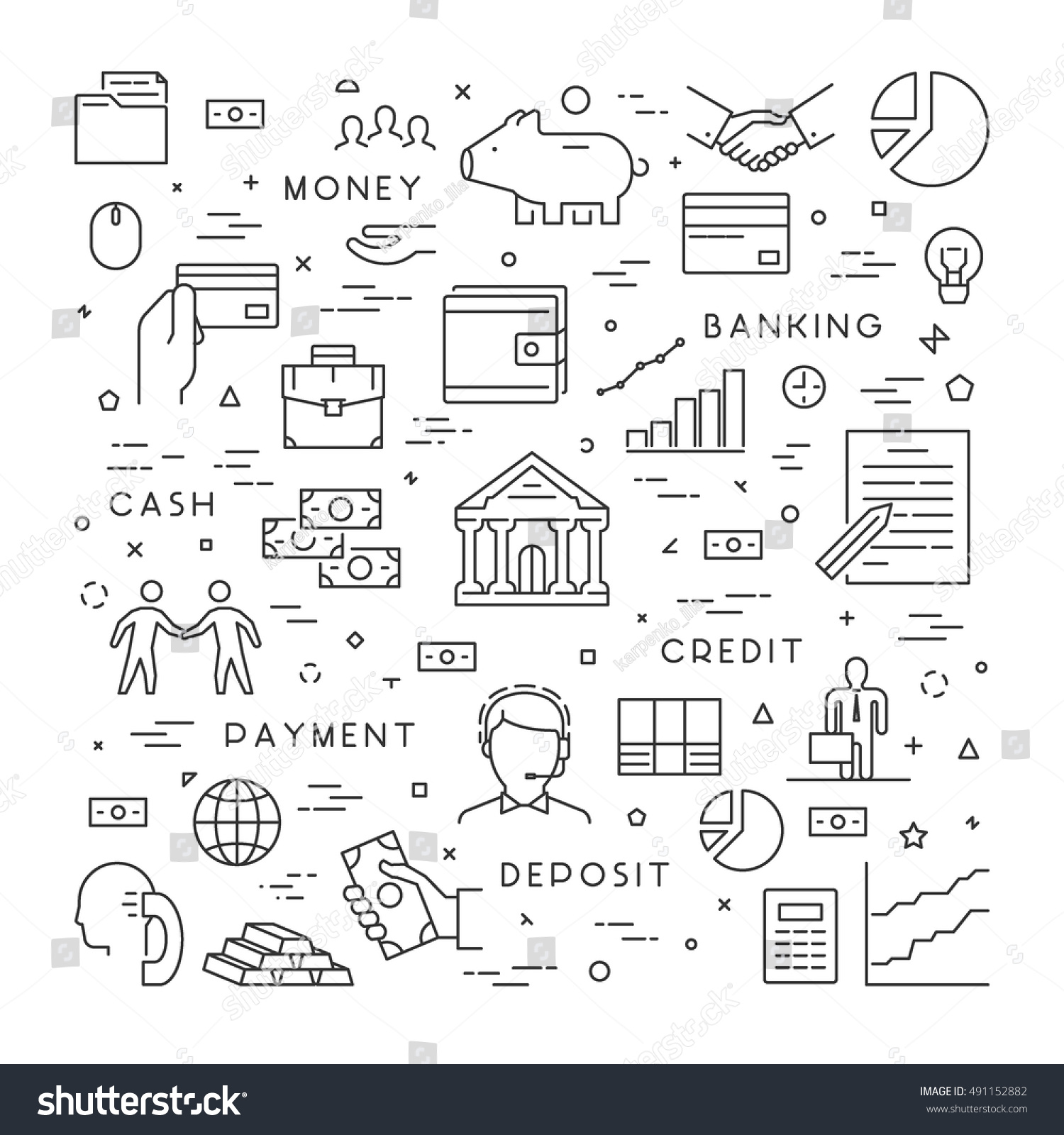Vector line concept banking modern linear stock vector 491152882 vector line concept for banking modern linear symbol for investment open path biocorpaavc Gallery