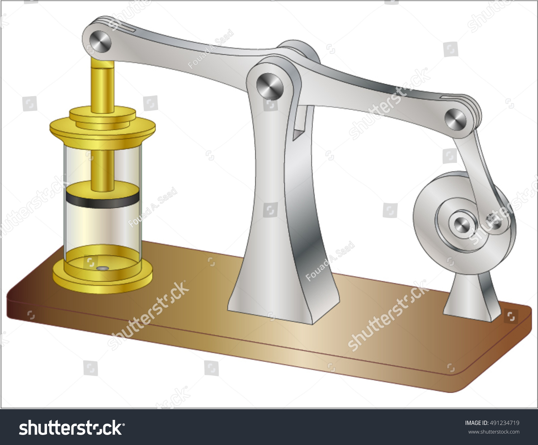 Mechanism Wheel Lever : Engine crank and lever mechanism stock vector illustration
