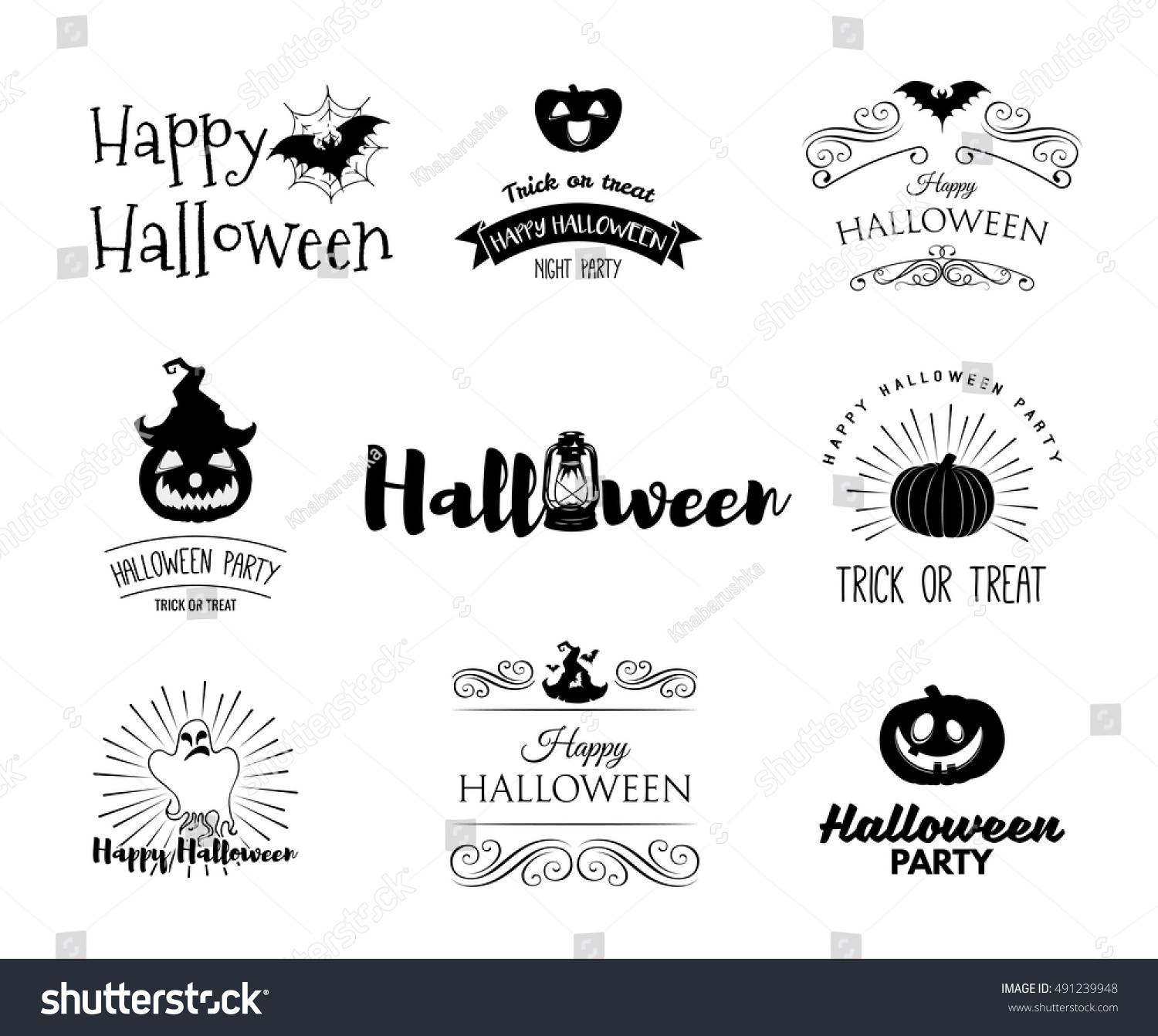 Halloween Party Invitation Label Templates Holiday Stock Vector ...