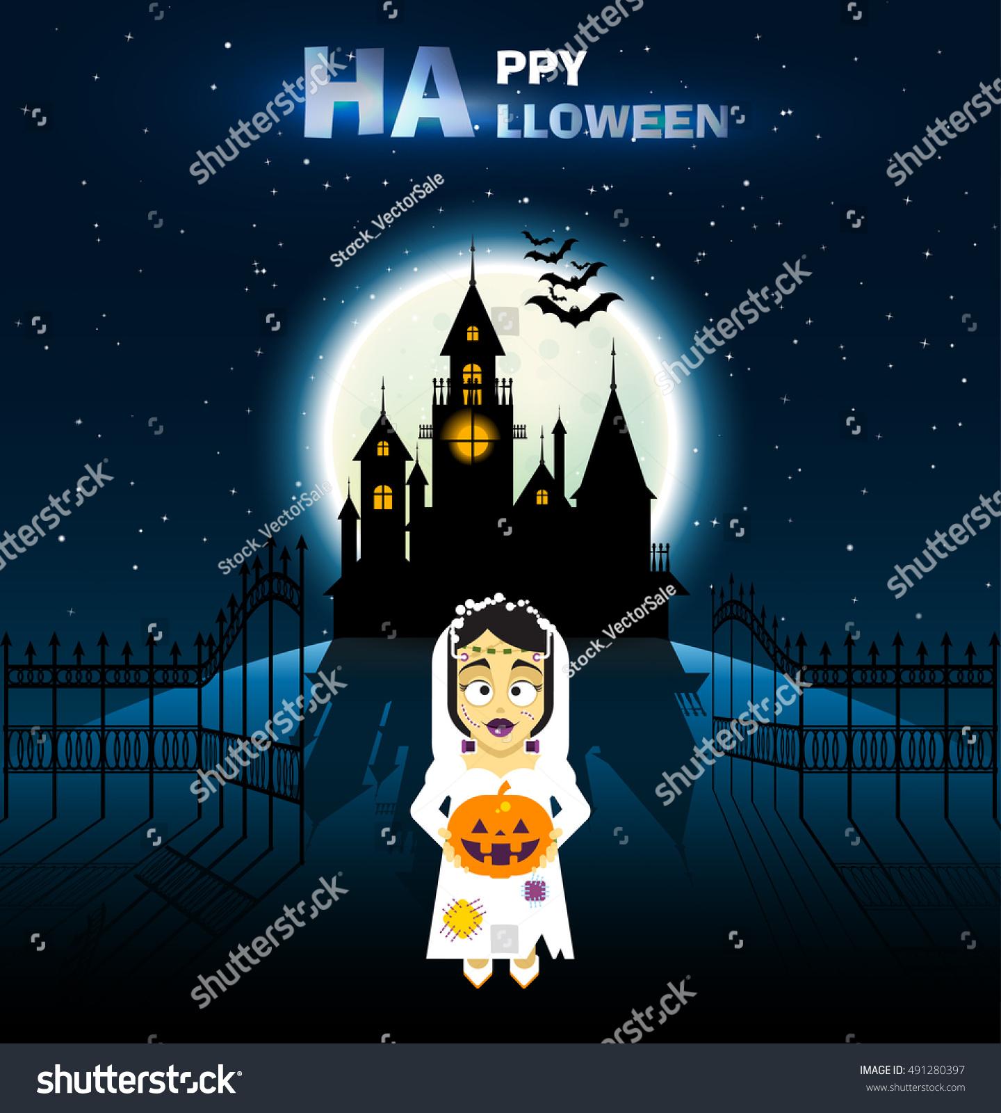 Happy Halloween Castle Horror Mountain Bats Stock Vector Royalty