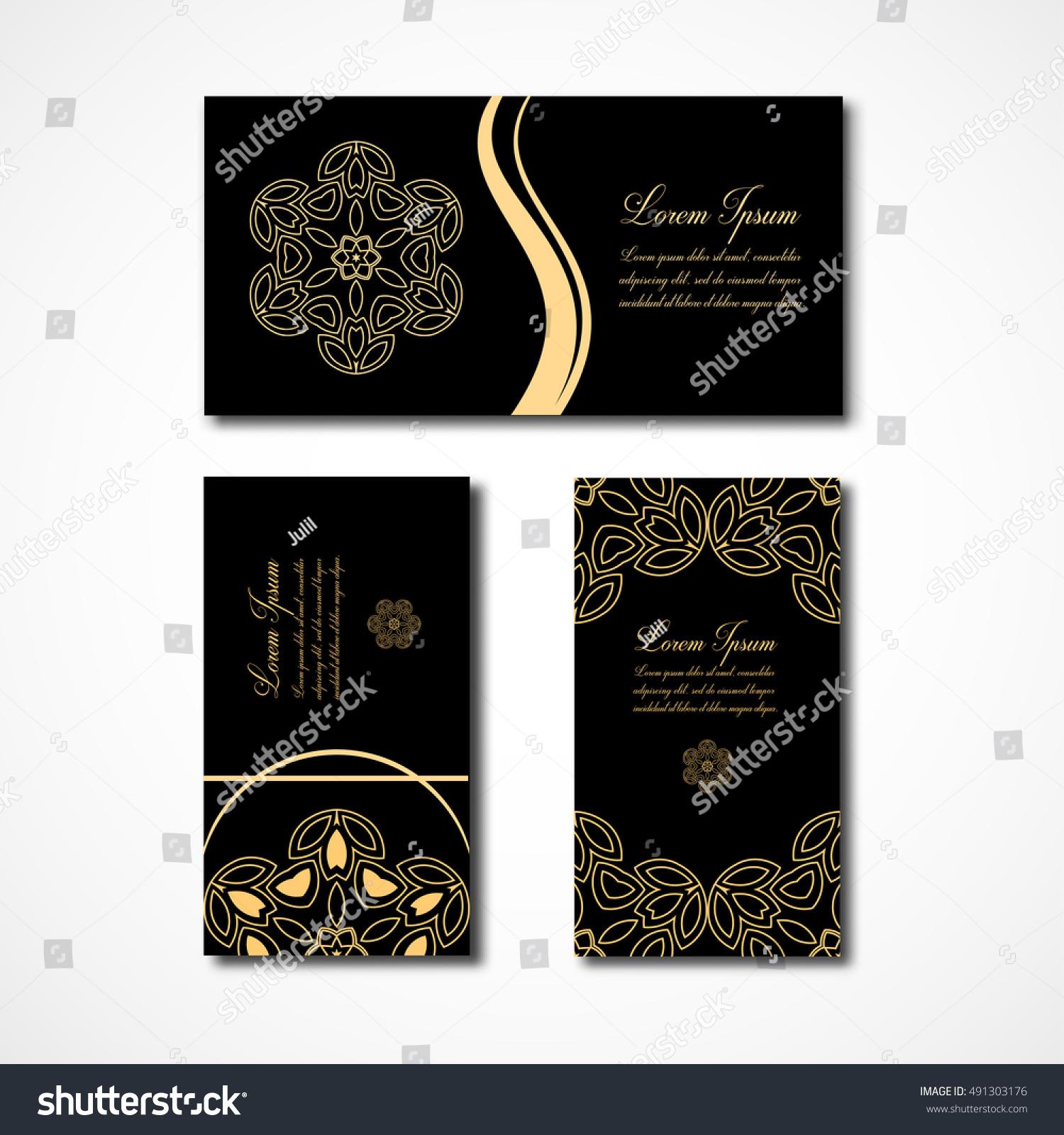 Set Business Card Floral Logos Template Stock Vector 491303176 ...