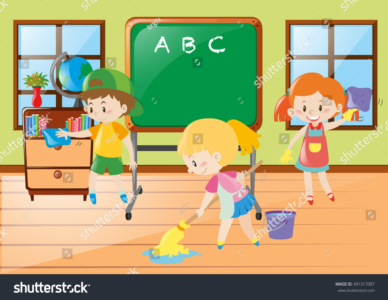Classroom Cleaners Design ~ Children help cleaning classroom illustration vectores en