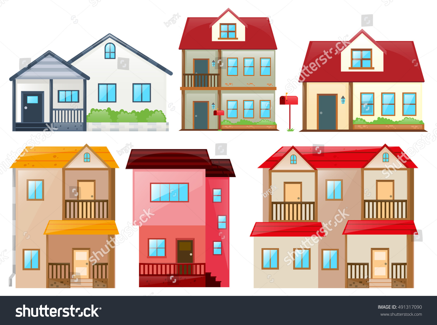 Fabulous Different Design Houses Illustration Stock Vector 491317090 Largest Home Design Picture Inspirations Pitcheantrous