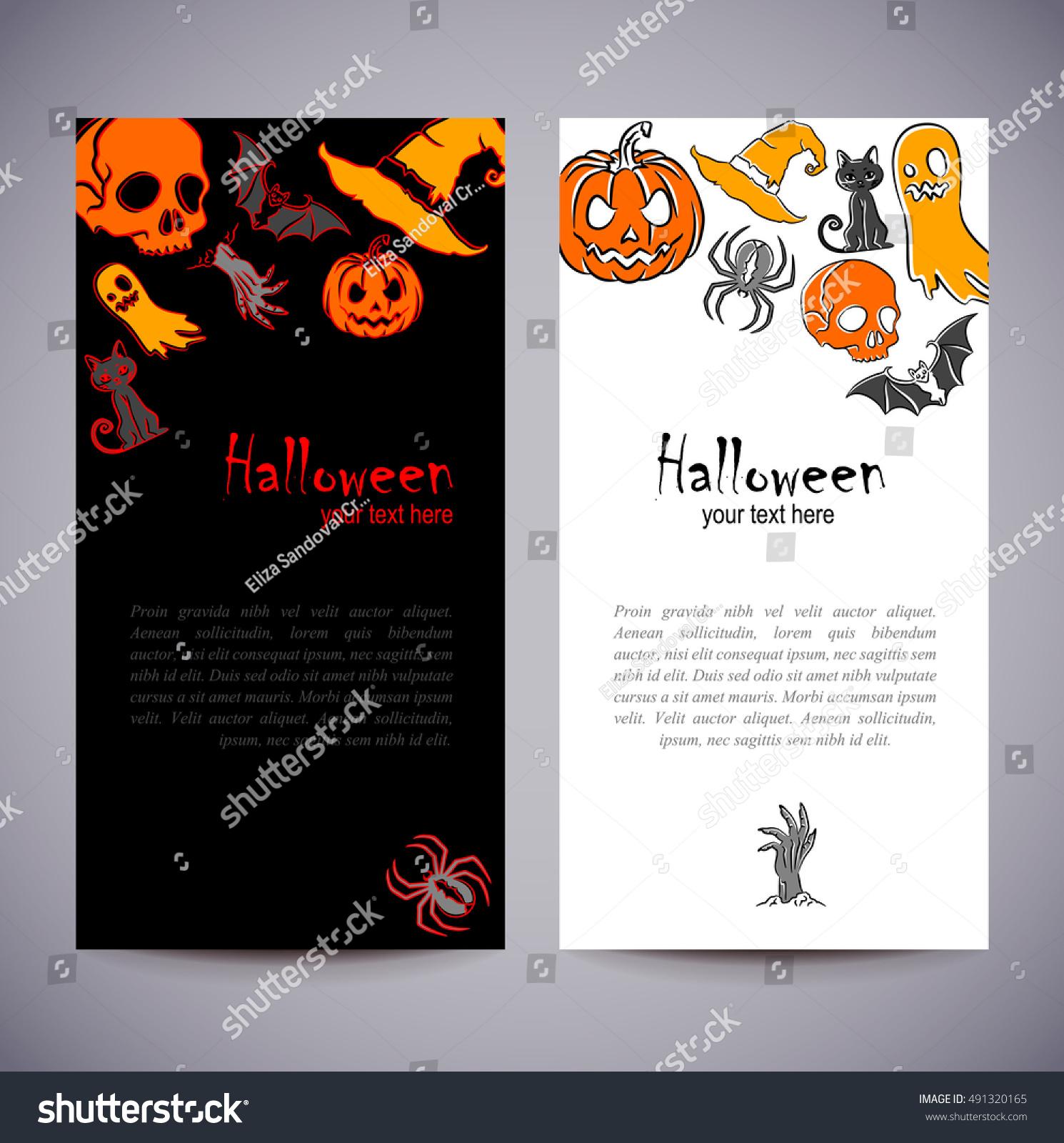 Flyer Invitation To Celebrate Halloween Horizontal Arrangement A