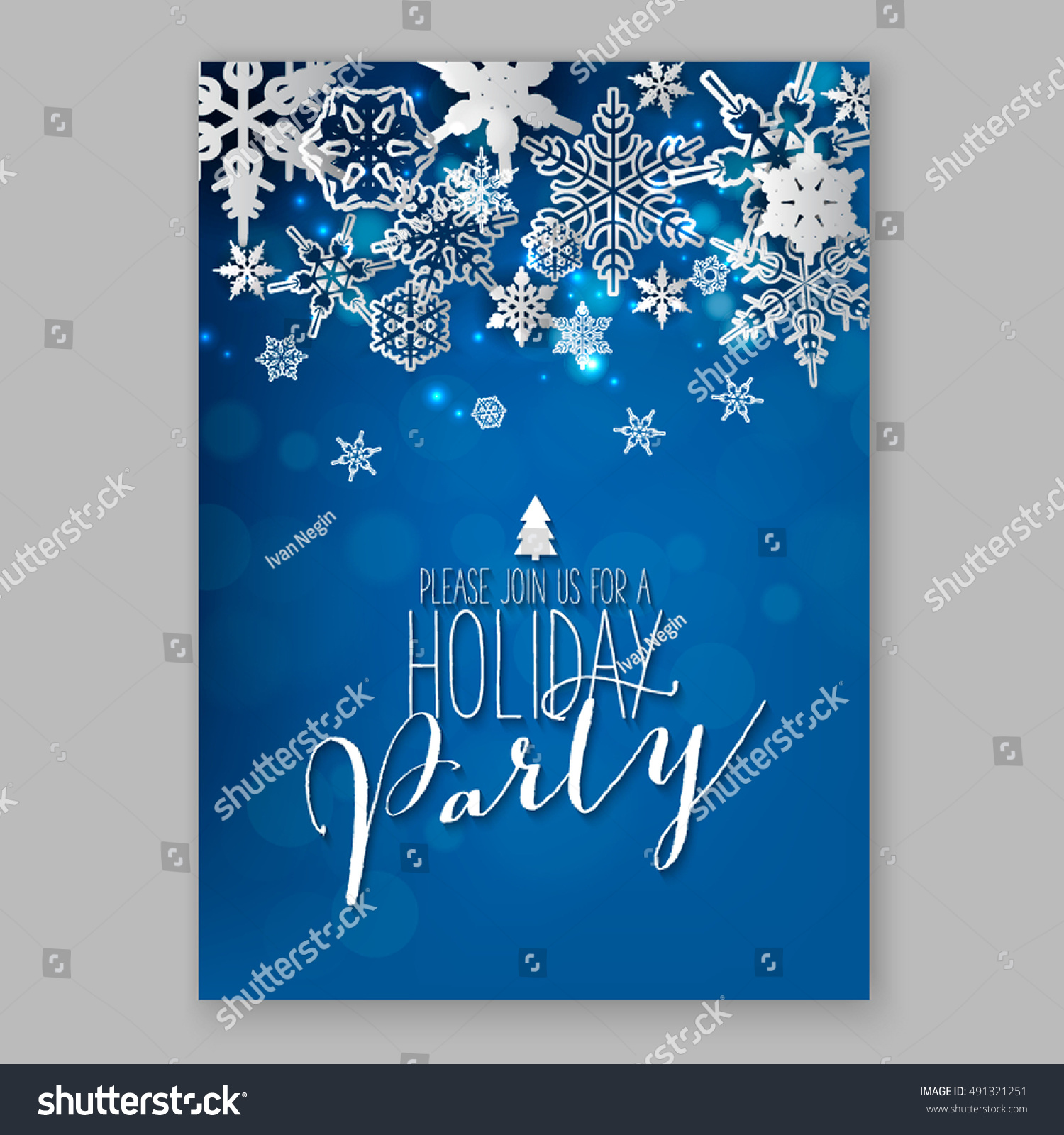 Merry Christmas Party Invitation Happy New Stock Vector 491321251 ...