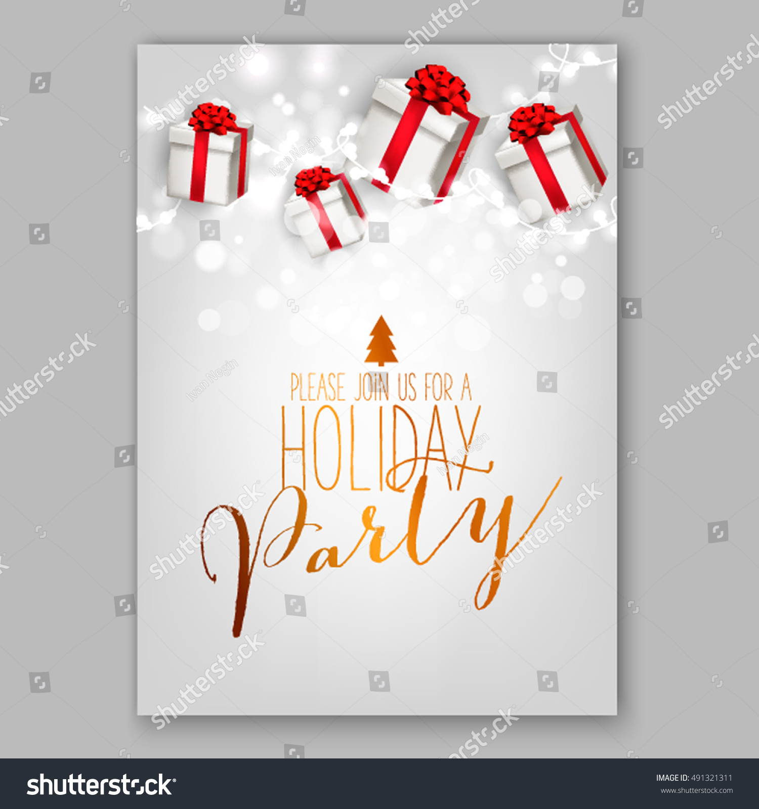 Merry Christmas Party Invitation Happy New Stock Vector 491321311 ...