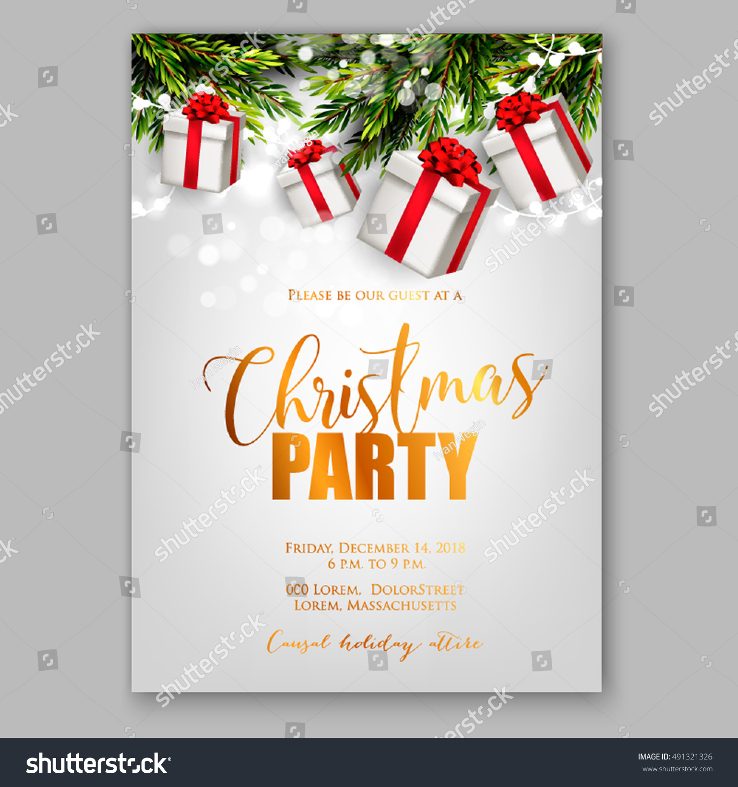 Merry Christmas Party Invitation Happy New Stock Vector 491321326 ...