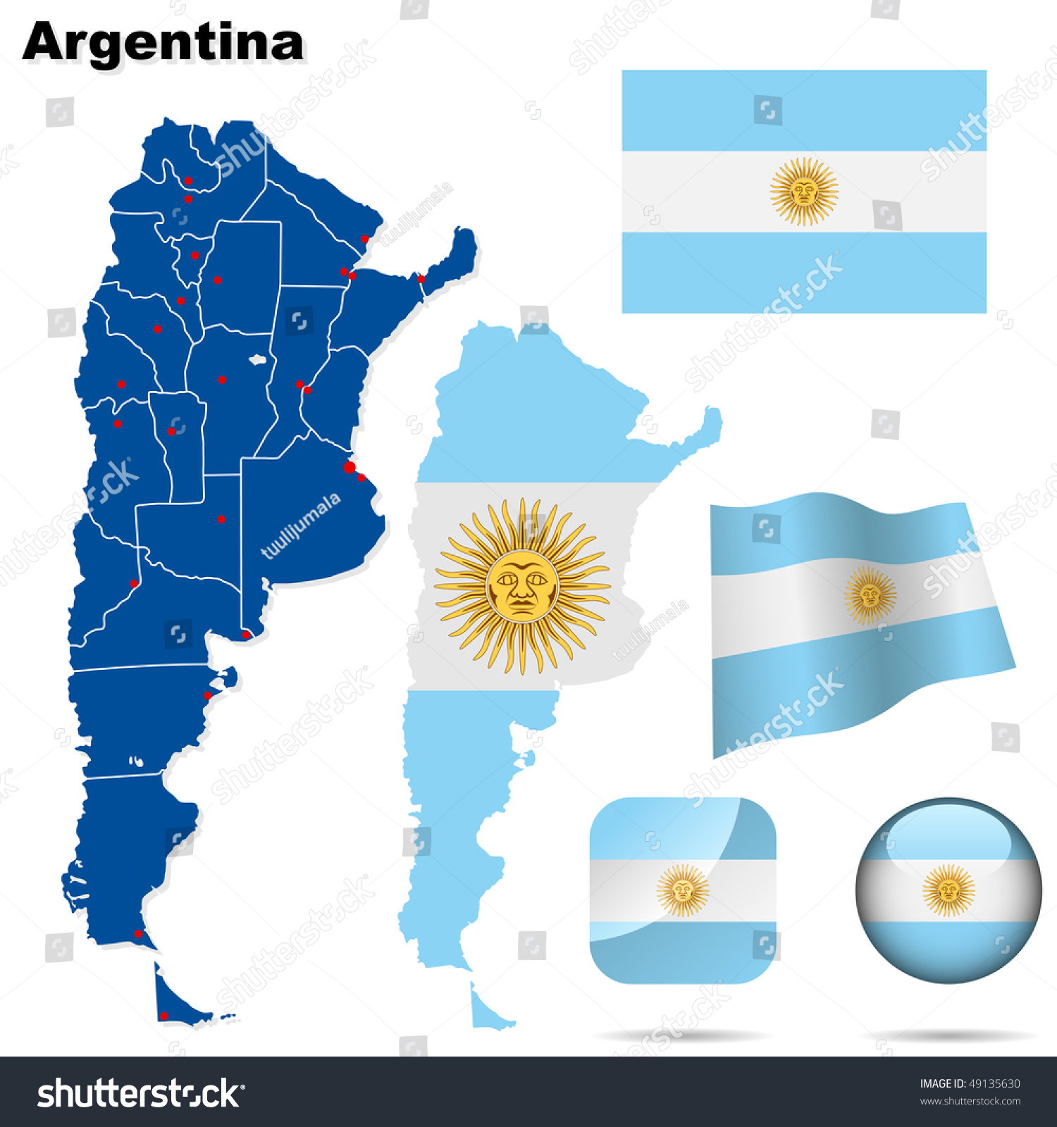 Argentina Vector Set Detailed Country Shape Stock Vector - Argentina map shape