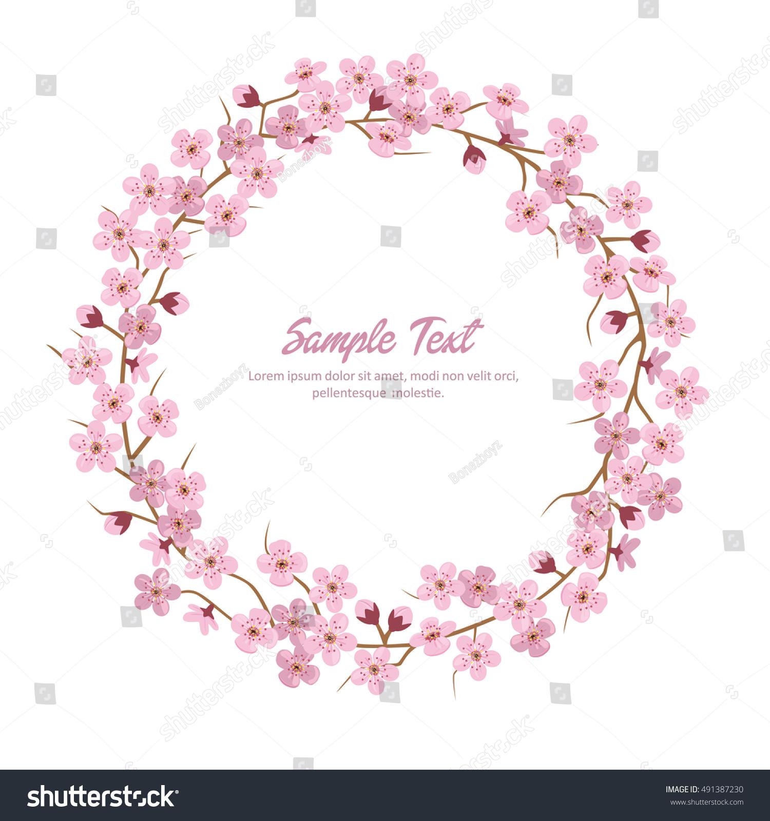 Sakura Flower Wreath Sakura Round Frame Ez Canvas