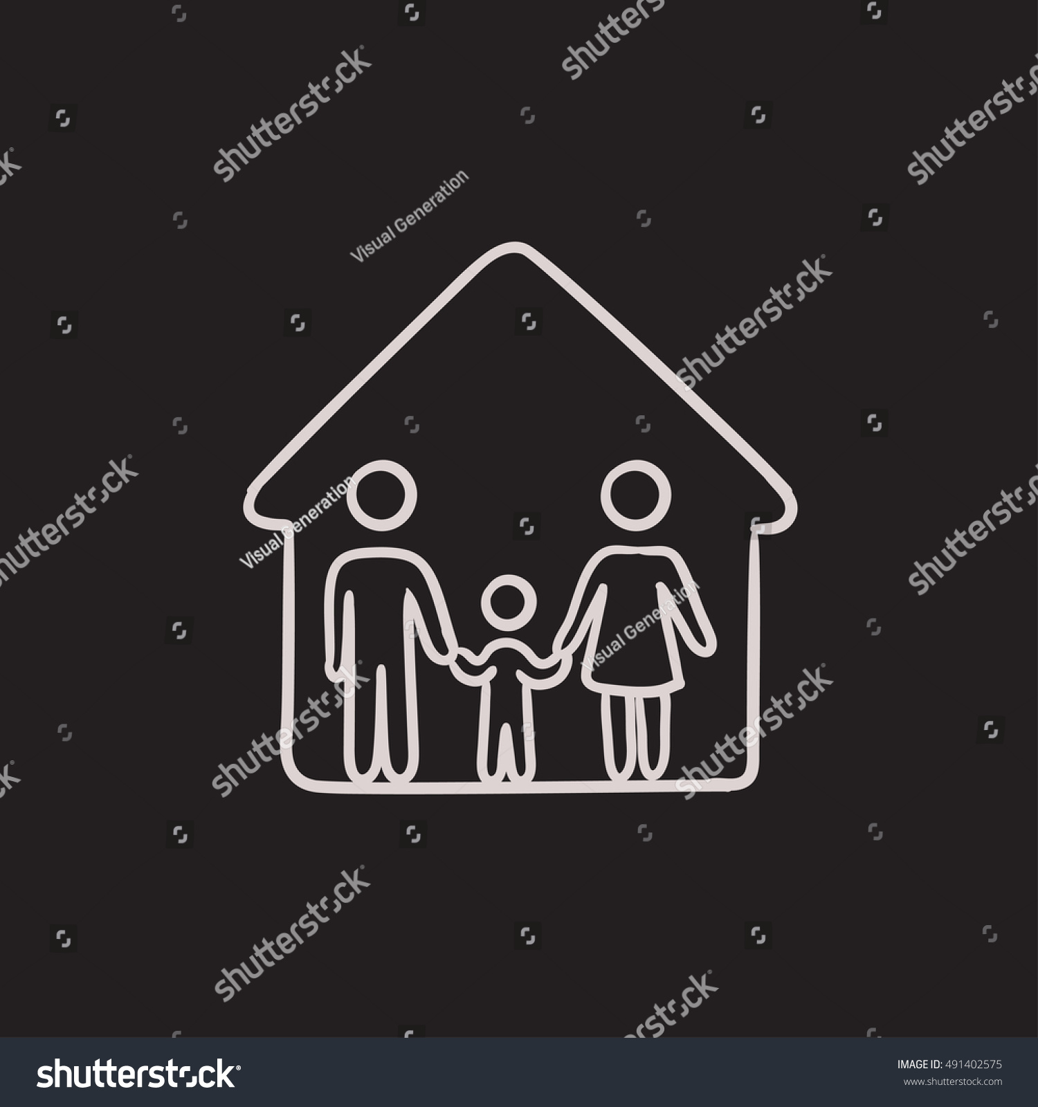 Family House Vector Sketch Icon Isolated Stock Vector
