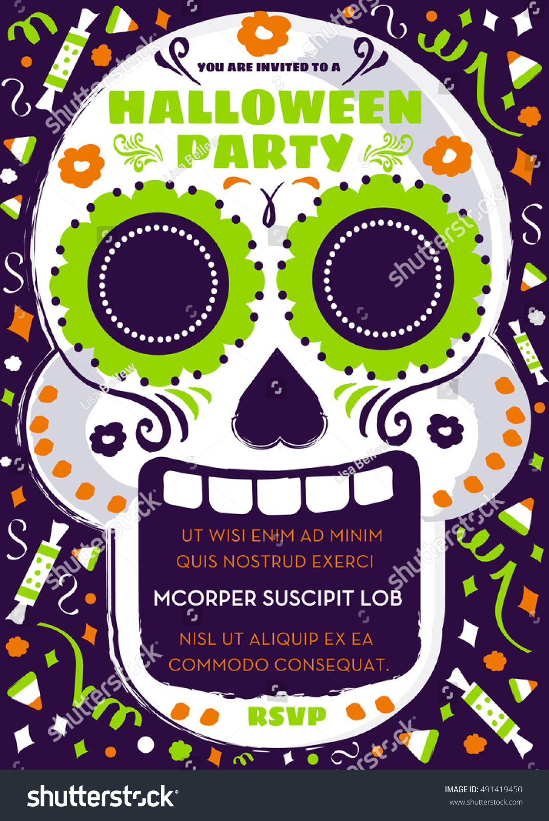 Day Dead Sugar Skull Halloween Party Stock Vector - Day of the dead party invitation template
