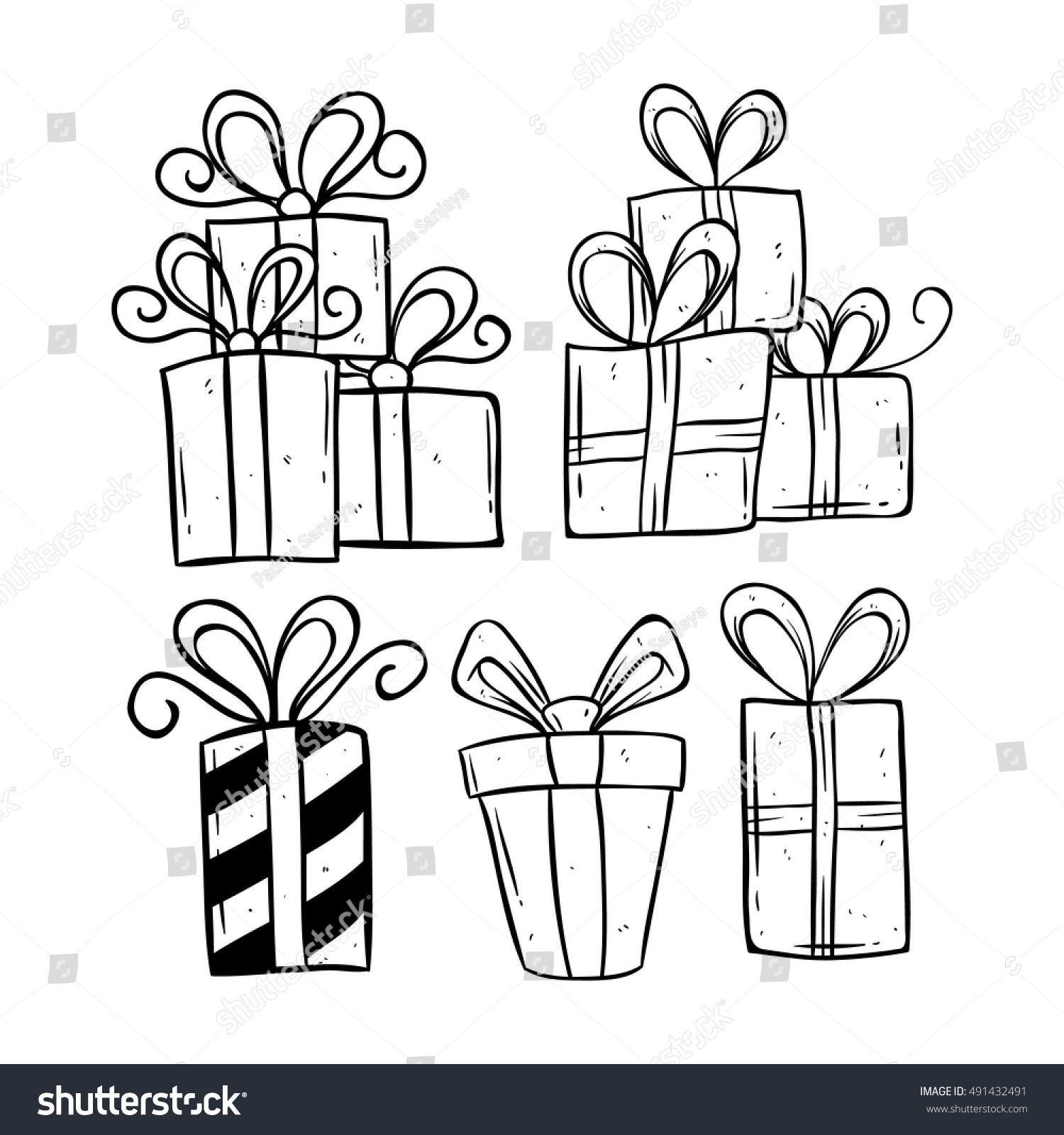 Set birthday gift using doodle art stock vector 491432491 set of birthday gift using doodle art or hand drawing style negle Image collections