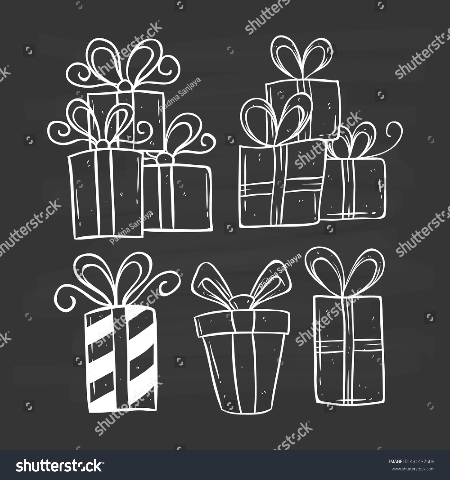 Set birthday gift using doodle art stock vector 491432509 set of birthday gift using doodle art or hand drawing style on chalkboard background negle Image collections