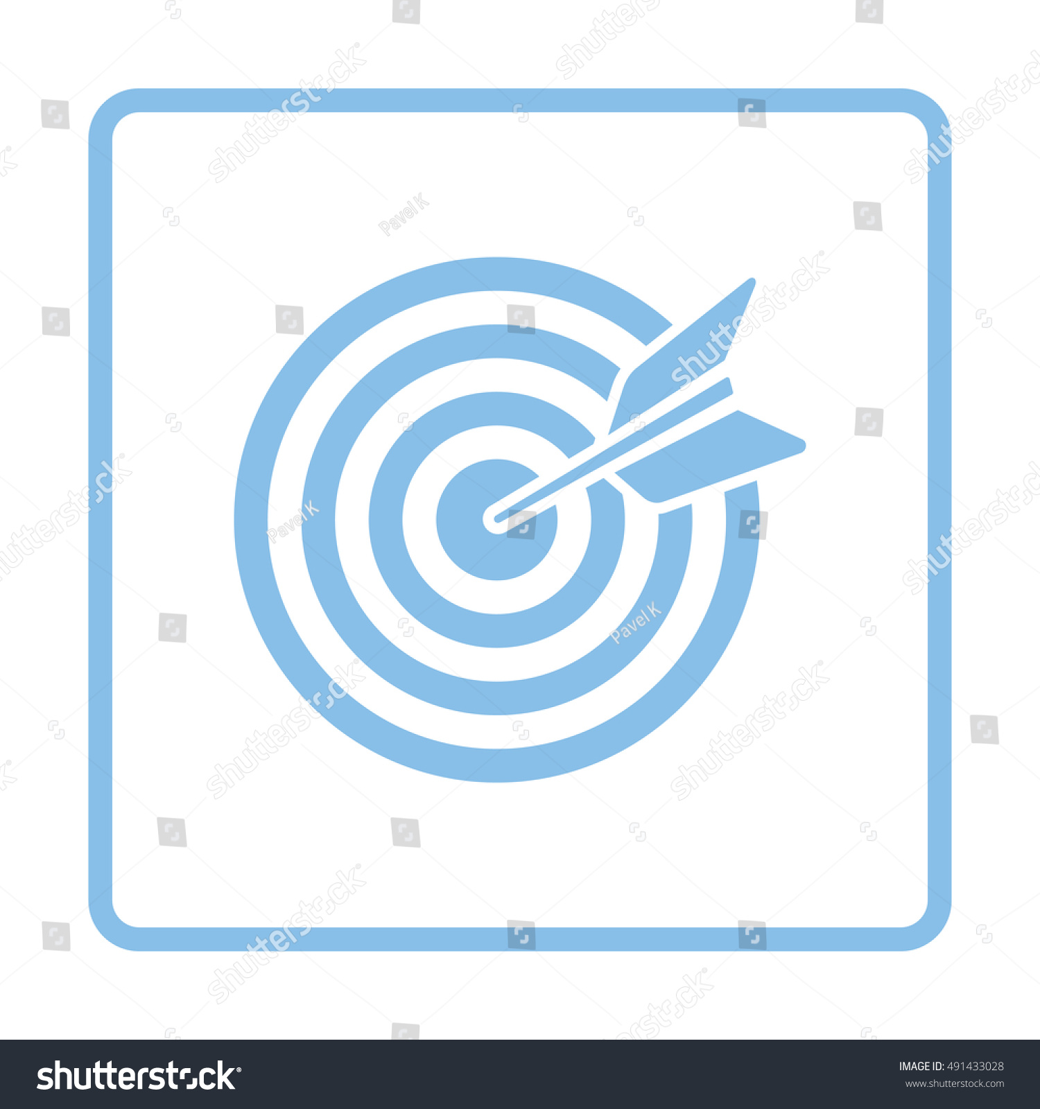 Target Dart Bulleye Icon Blue Frame Stock Vector 491433028 ...