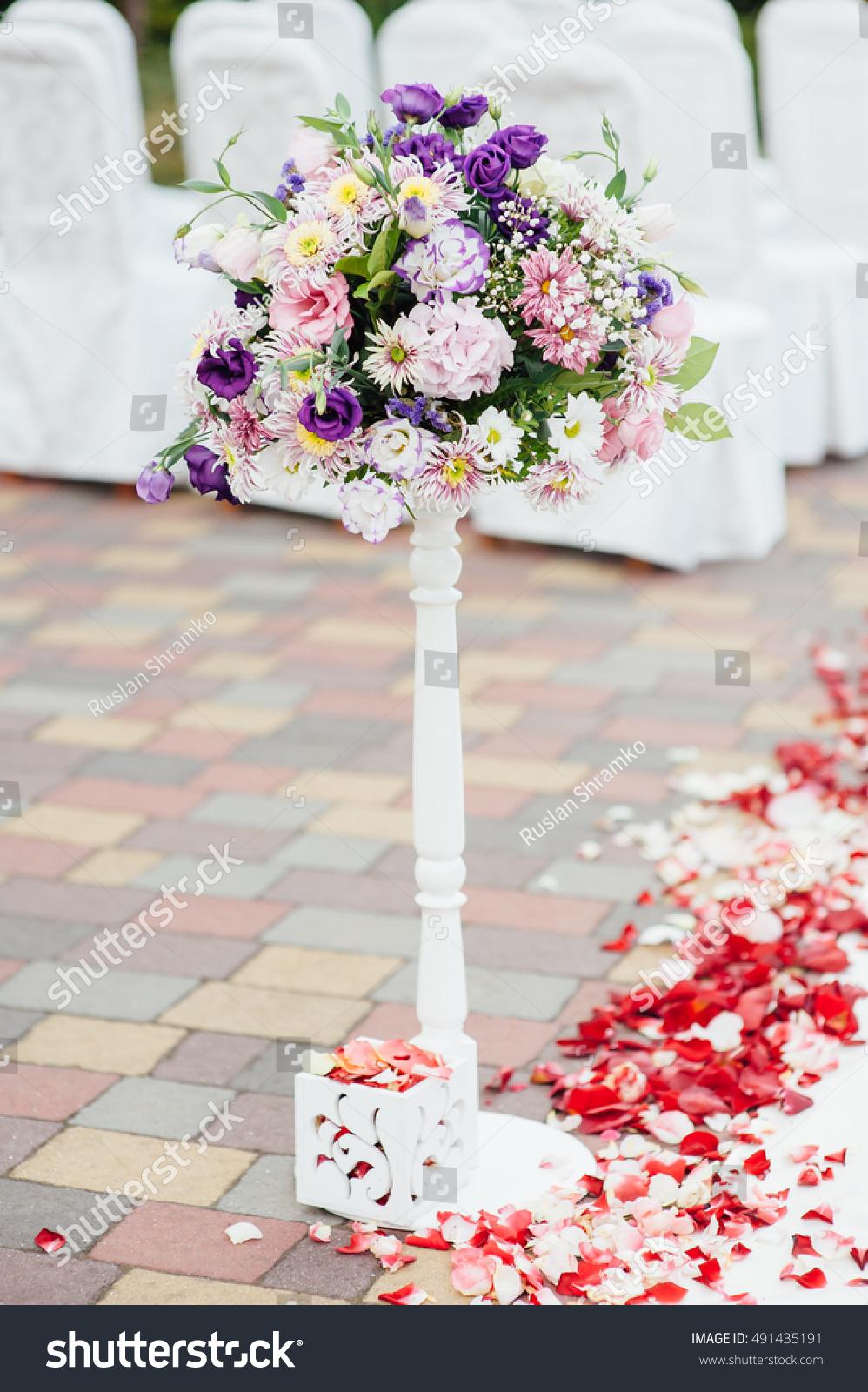 Beautiful Vase Flowers Wedding Ceremony Park Stock Photo Safe To