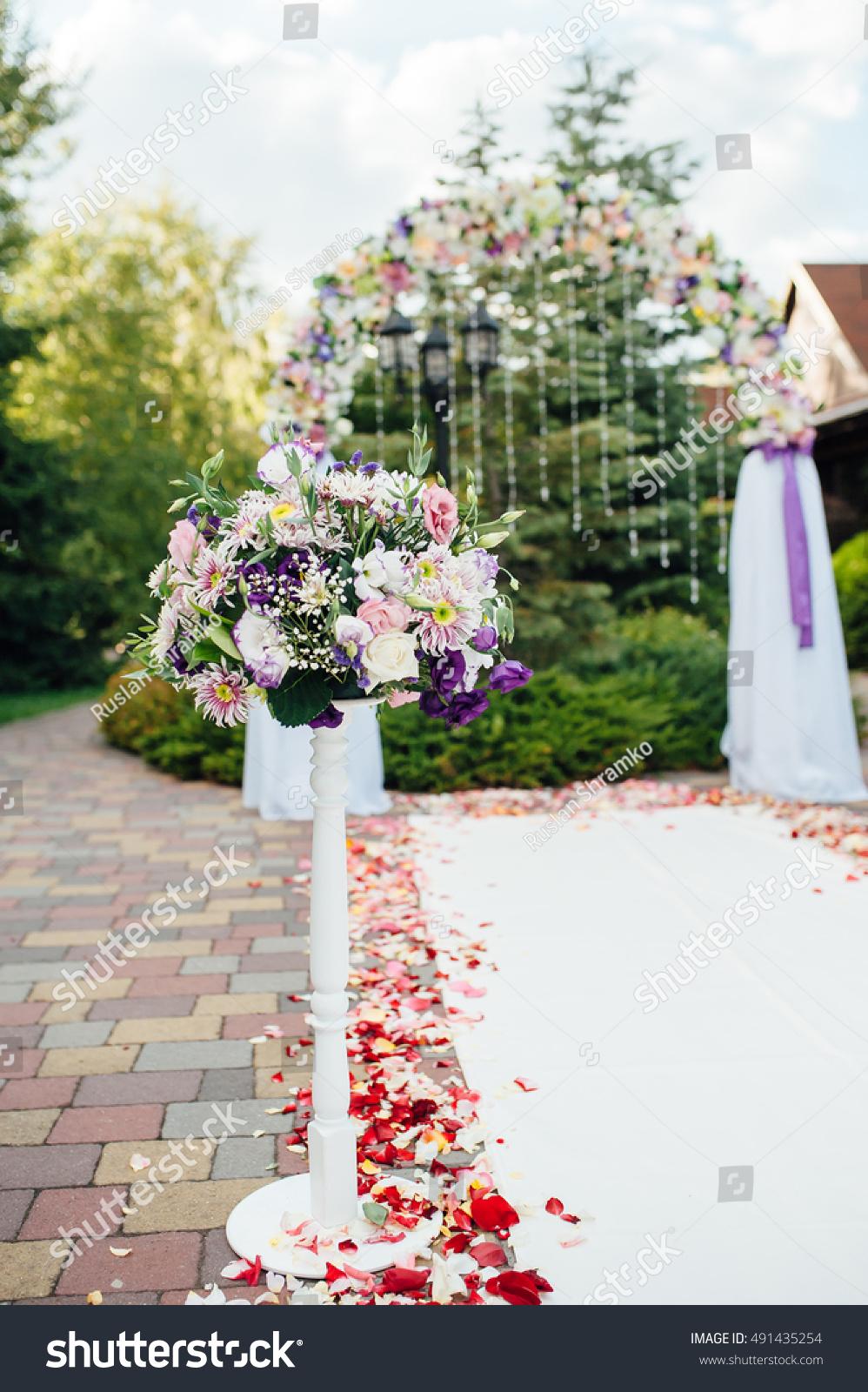 Beautiful Vase Flowers Wedding Ceremony Park Stock Photo Royalty