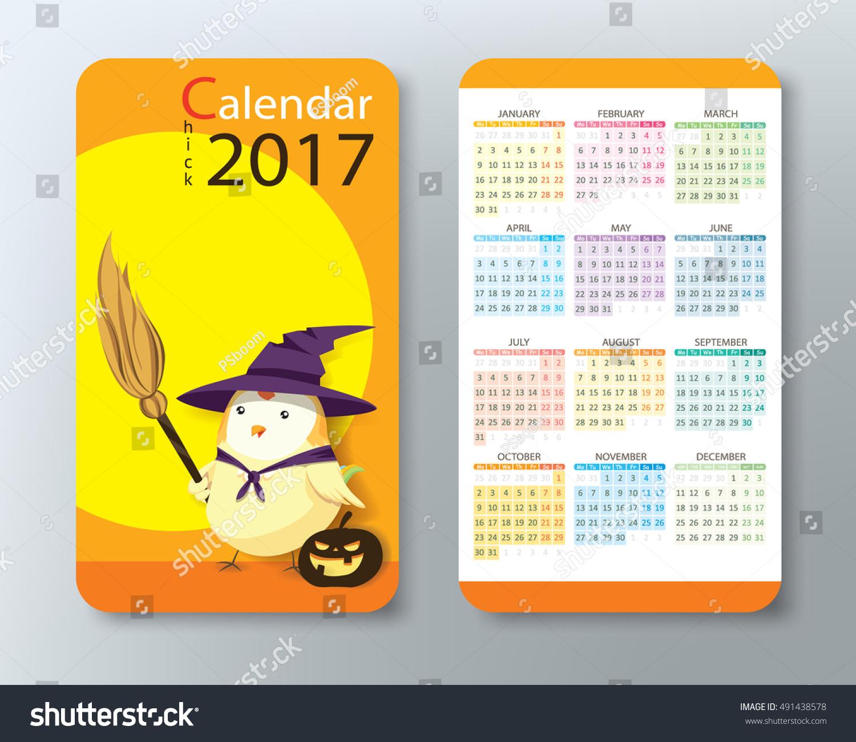 Calendar 2017 Cute Chick Character Standard Stock Vector 491438578 ...