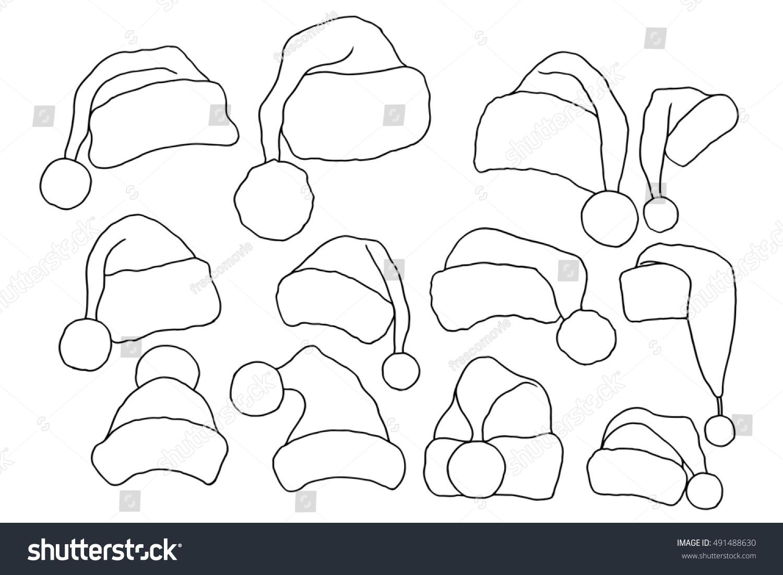 Set of monochrome doodle hats Santa Claus. Template Christmas hat ...