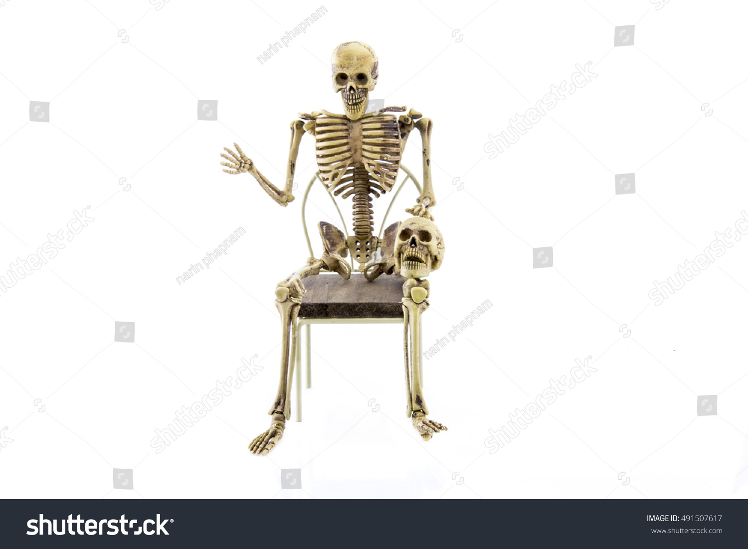 Anatomy Skeleton Sit On Chair Isolated Stock Photo (Royalty Free ...
