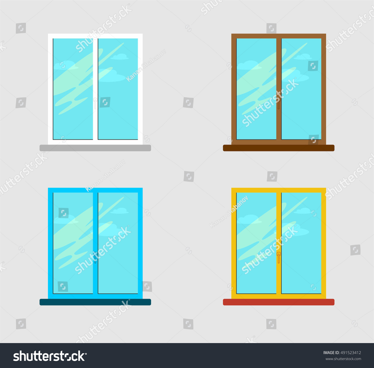 Vector illustration colorful windows flat design stock for Window design vector